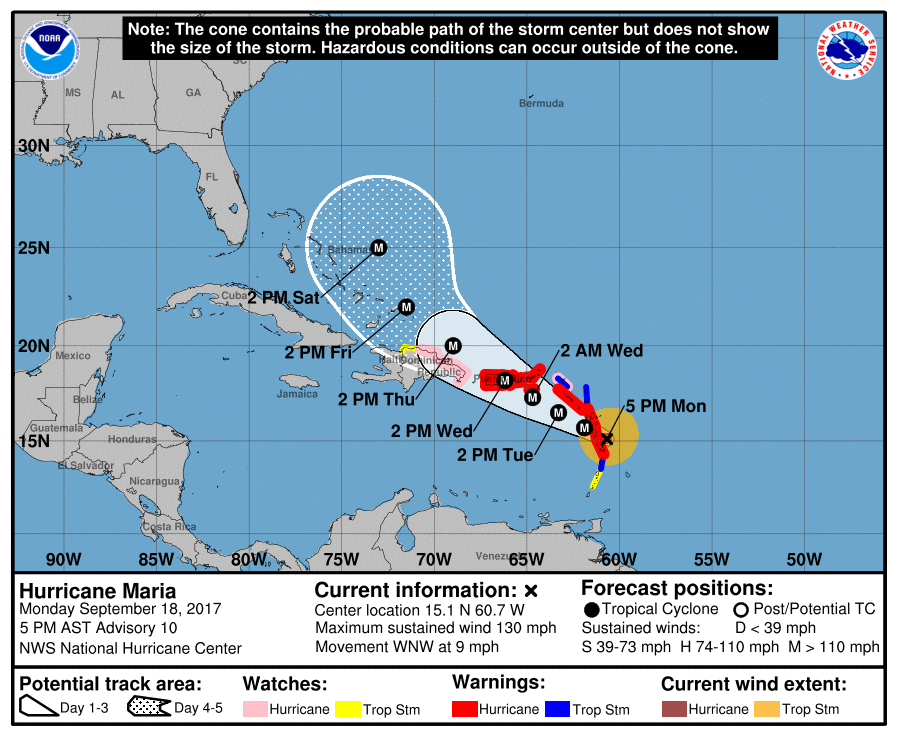 National Hurricane Center projection of Hurricane Maria's path, Sept. 18, 2017