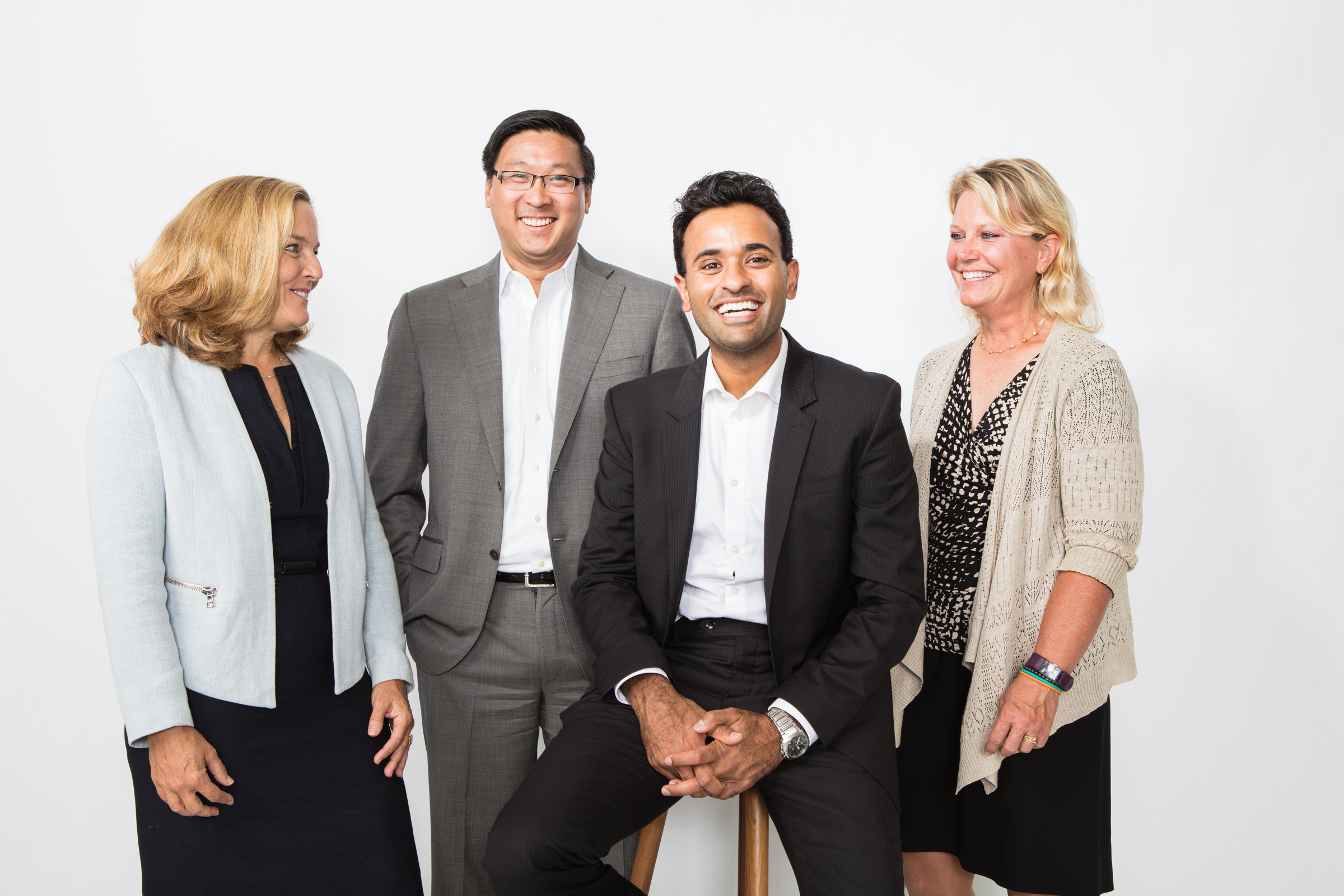 Roivant CEOs at the Time Inc. offices in New York City. From left to right: Lynn Seely, Alvin Shih, Vivek Ramaswamy, Jackie Fouse