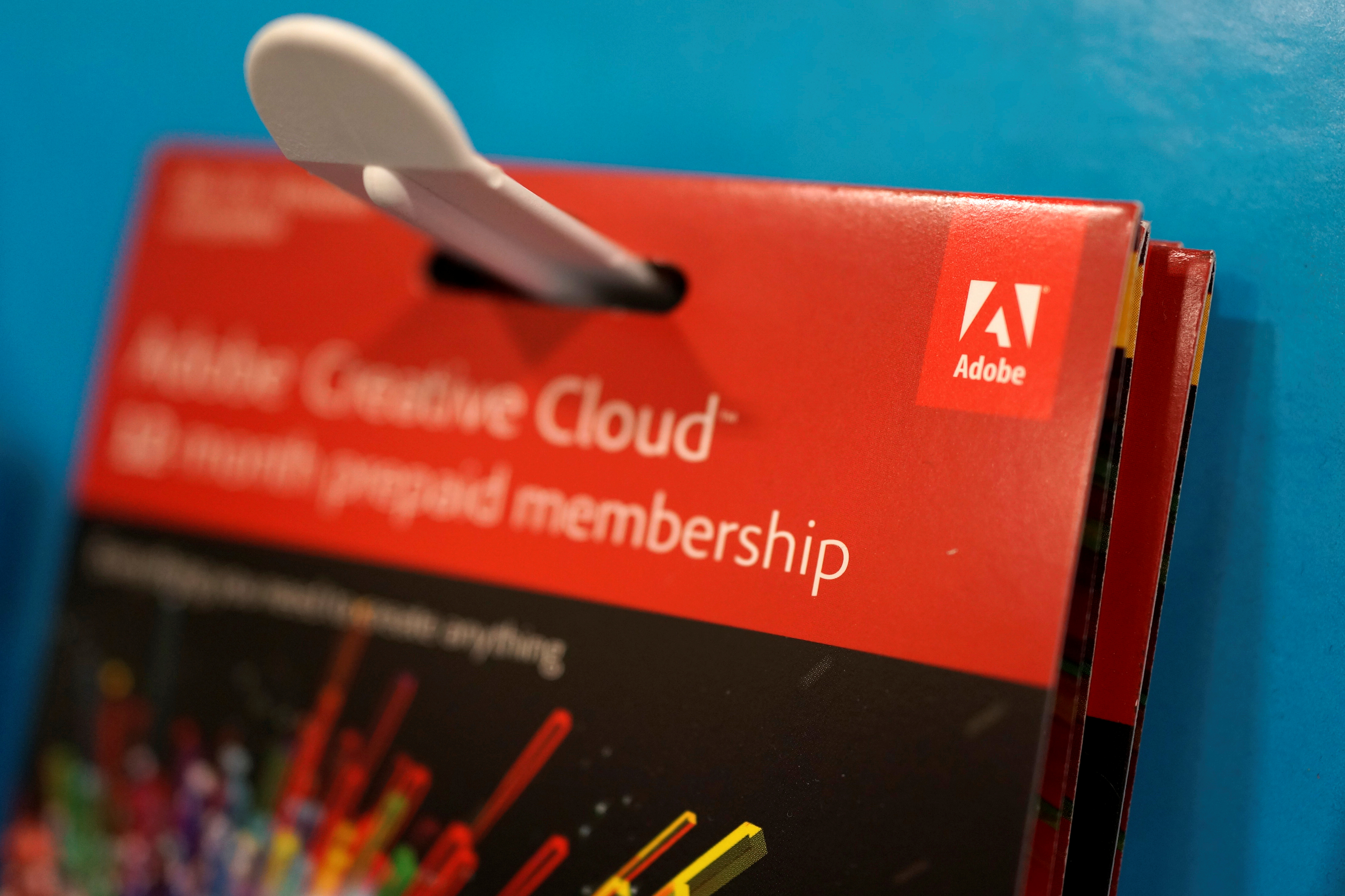 An Adobe Systems software box is seen in Los Angeles