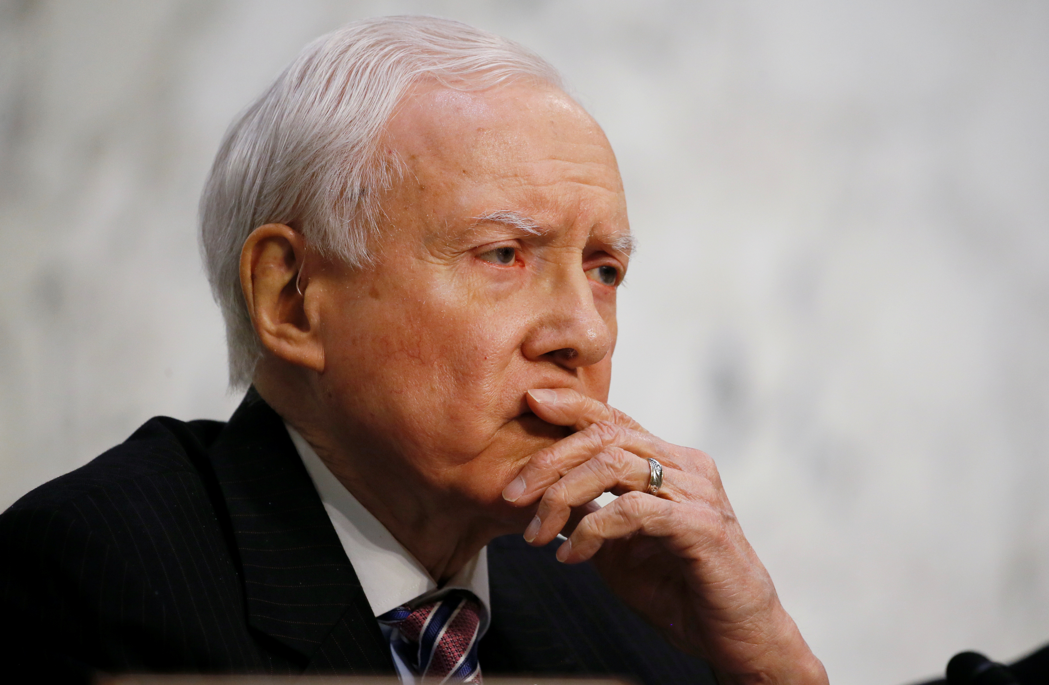 U.S. Senator Hatch listens to U.S. Supreme Court nominee judge Gorsuch during the third day of his Senate Judiciary Committee confirmation hearing in Washington