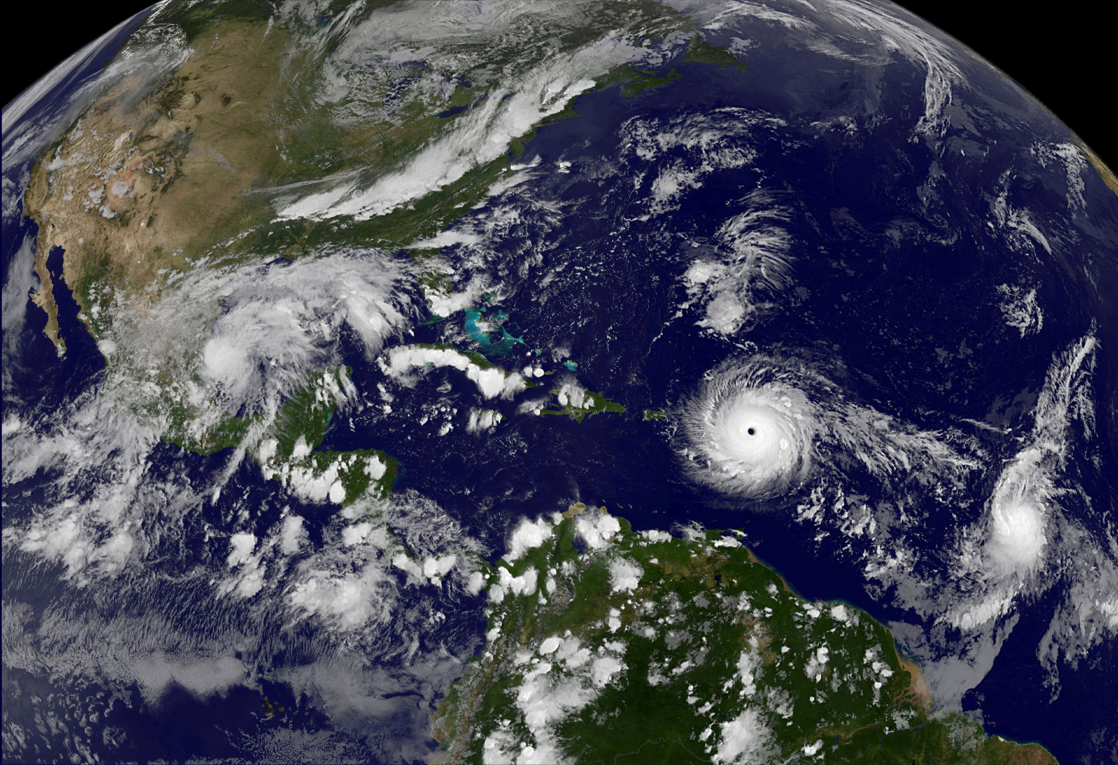 Hurricane Irma a record Category 5 storm churns across the Atlantic Ocean on a collision course with Puerto Rico and the Virgin Islands
