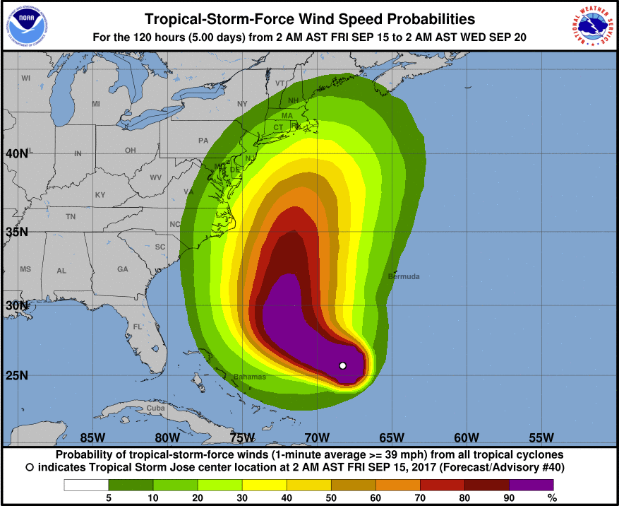 The NHC's map of Jose's wind speed probabilities