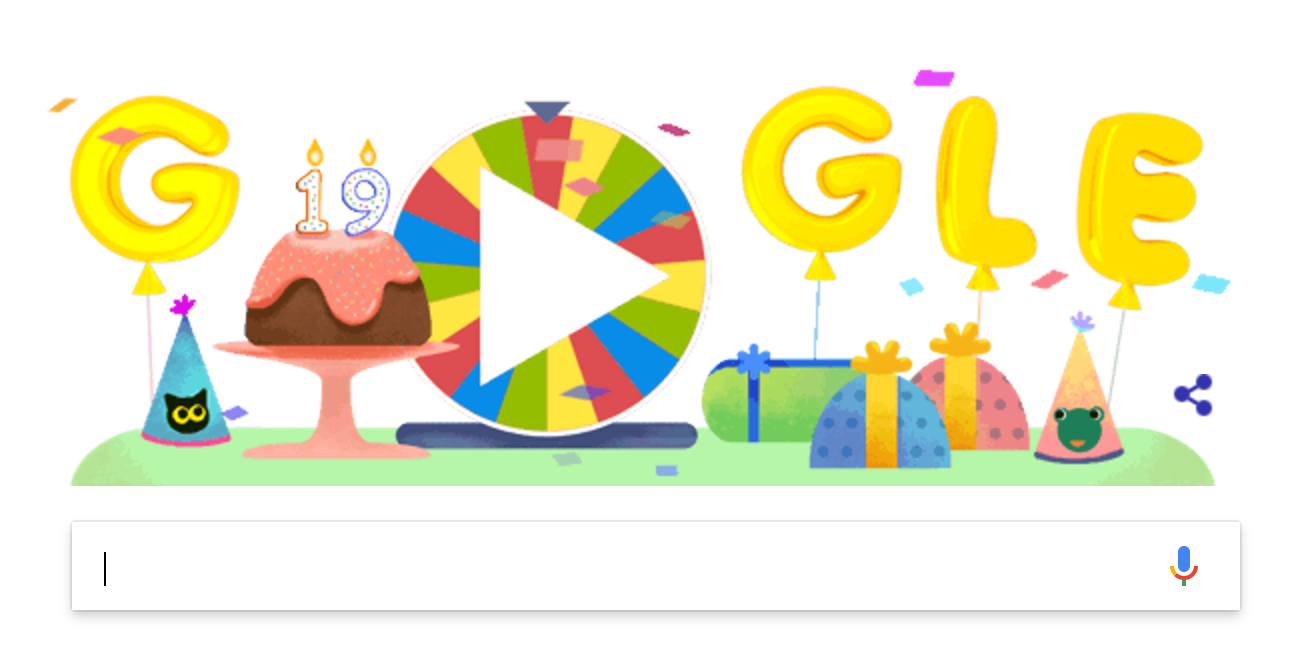Google launches a surprise spinner Doodle for its 19th birthday.