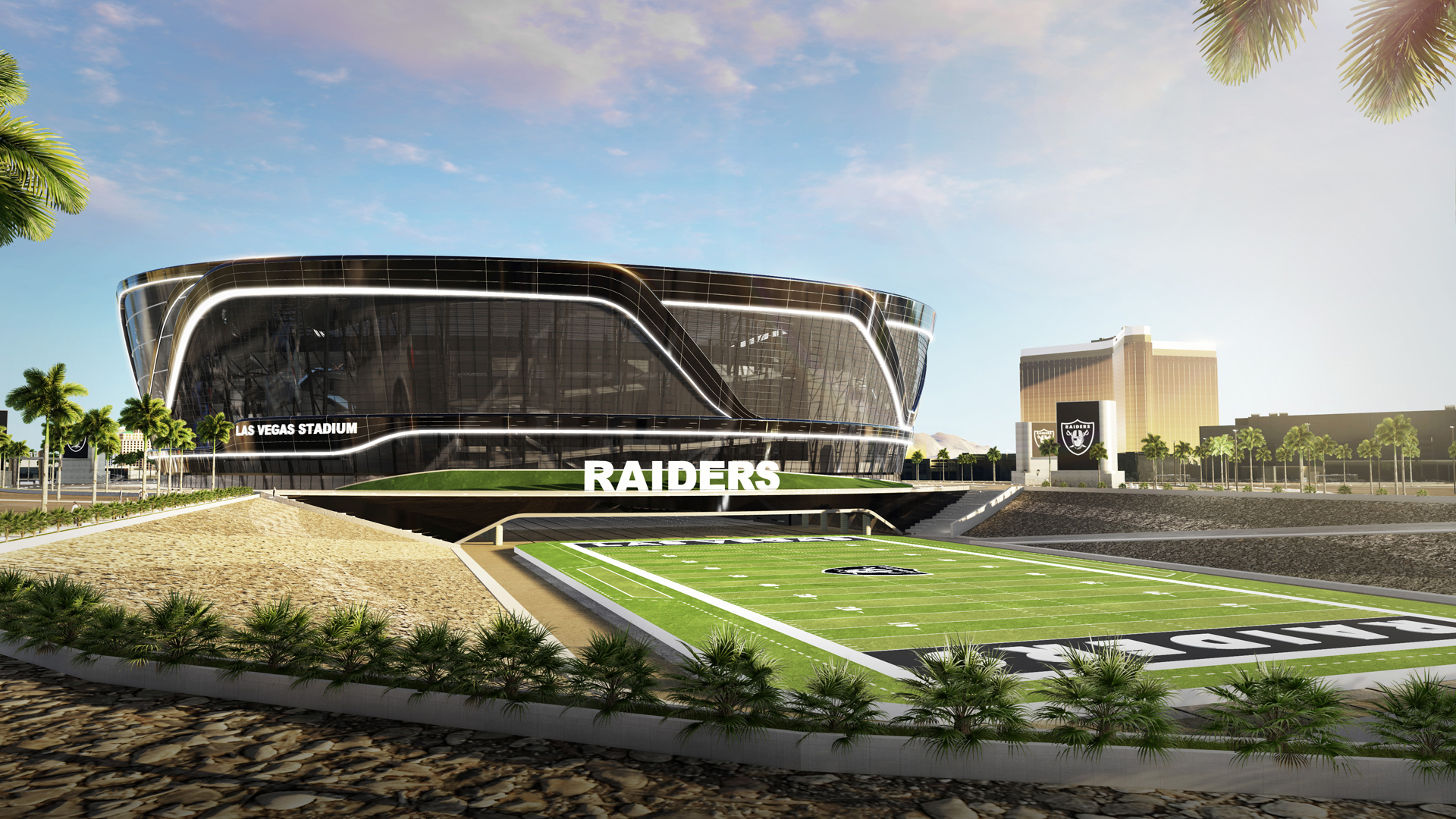 A rendering of the proposed Las Vegas Stadium for the Raiders NFL team.