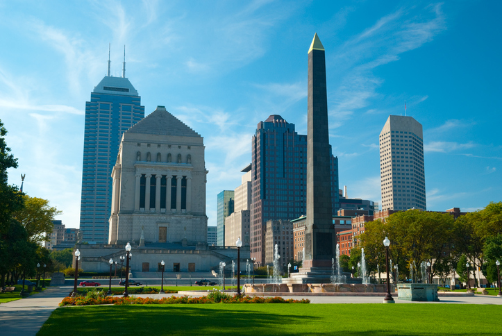 Indianapolis skyline and memorials