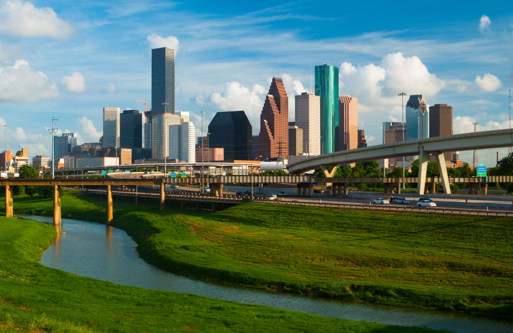 Houston skyline, freeway, and river