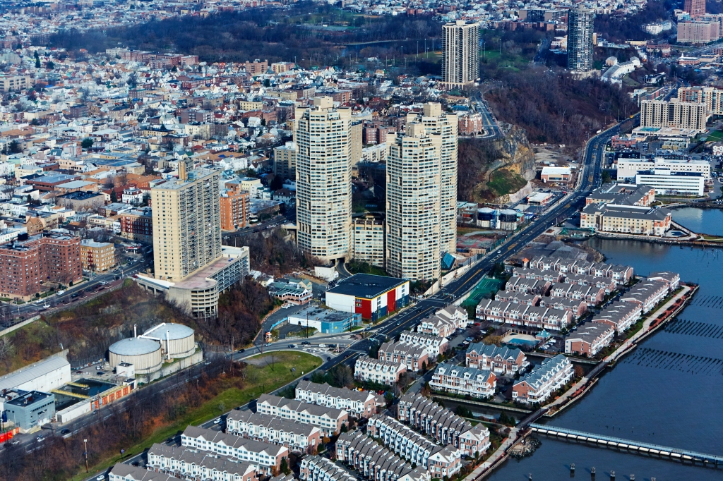 Aerial view of the Guttenburg district of Jersey City