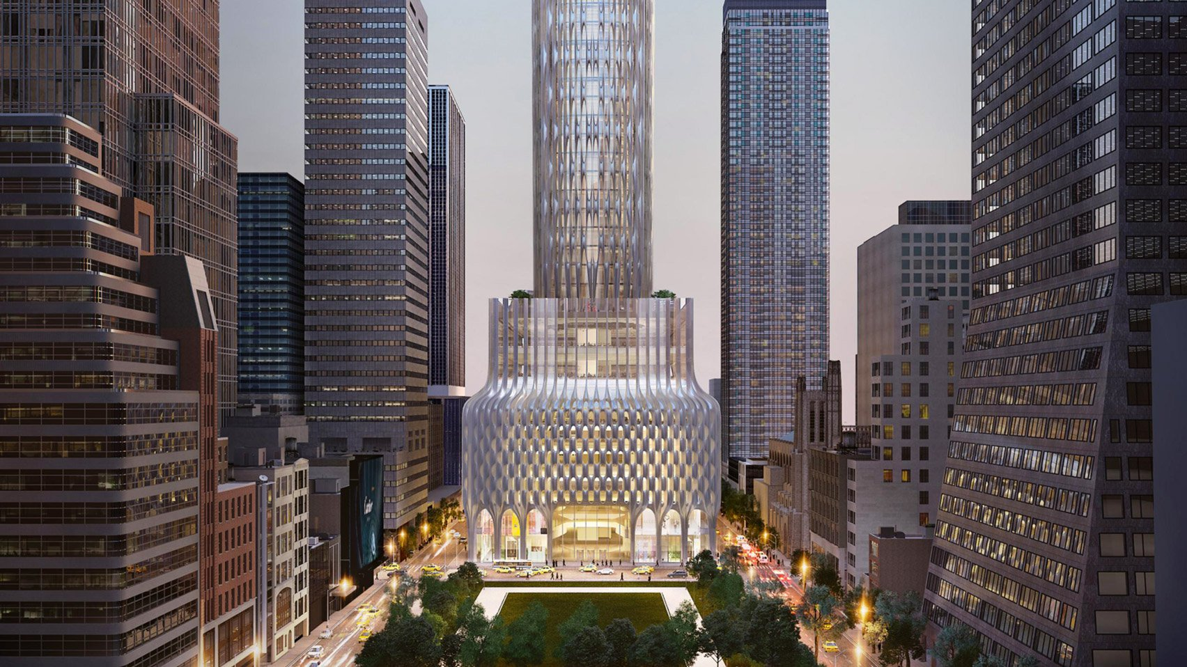 A rendering of the proposed rebuilt 666 Fifth Avenue in New York City.