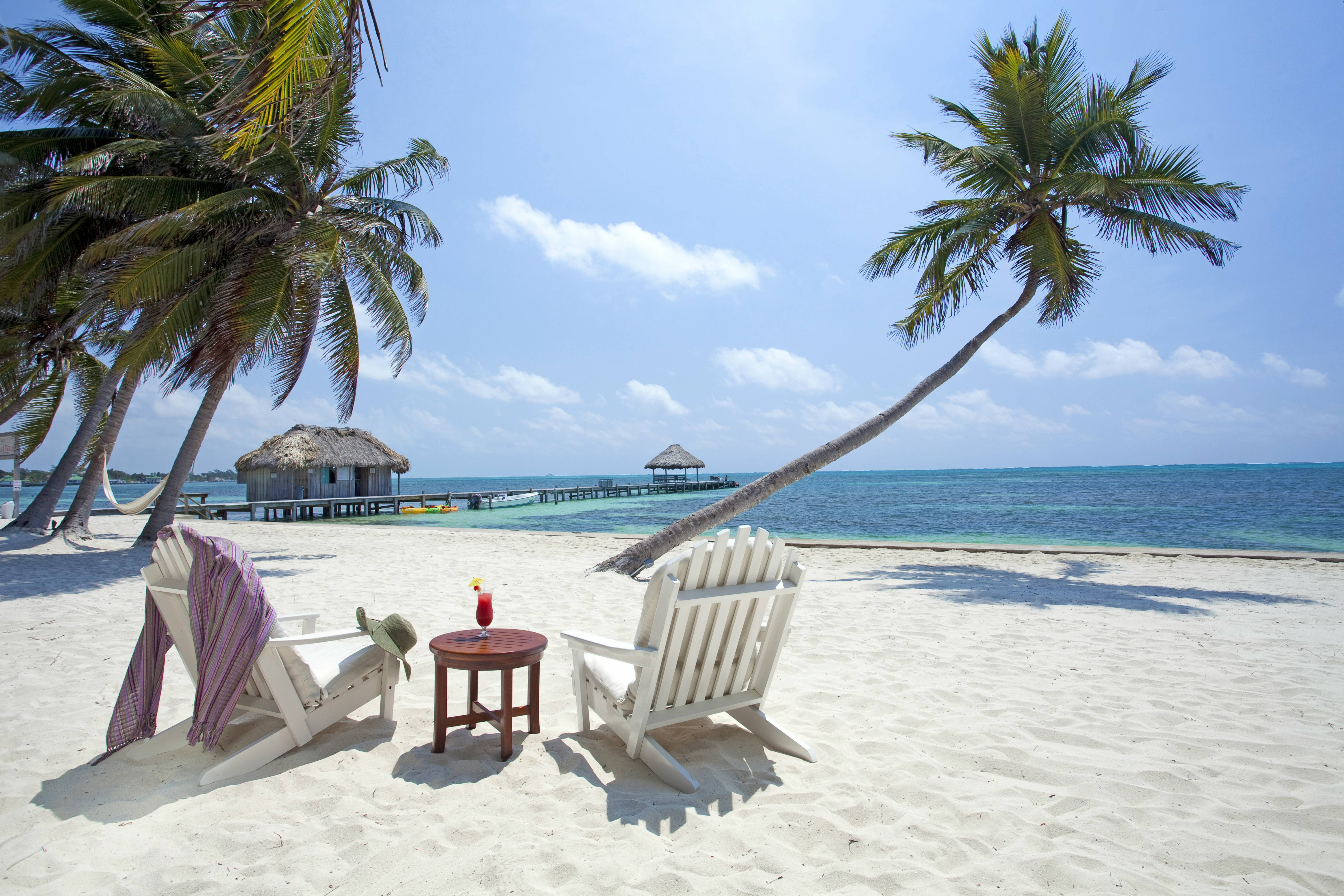 Belize, Ambergris Caye, San Pedro, sun loungers on beach with coconut palms and Caribbean sea