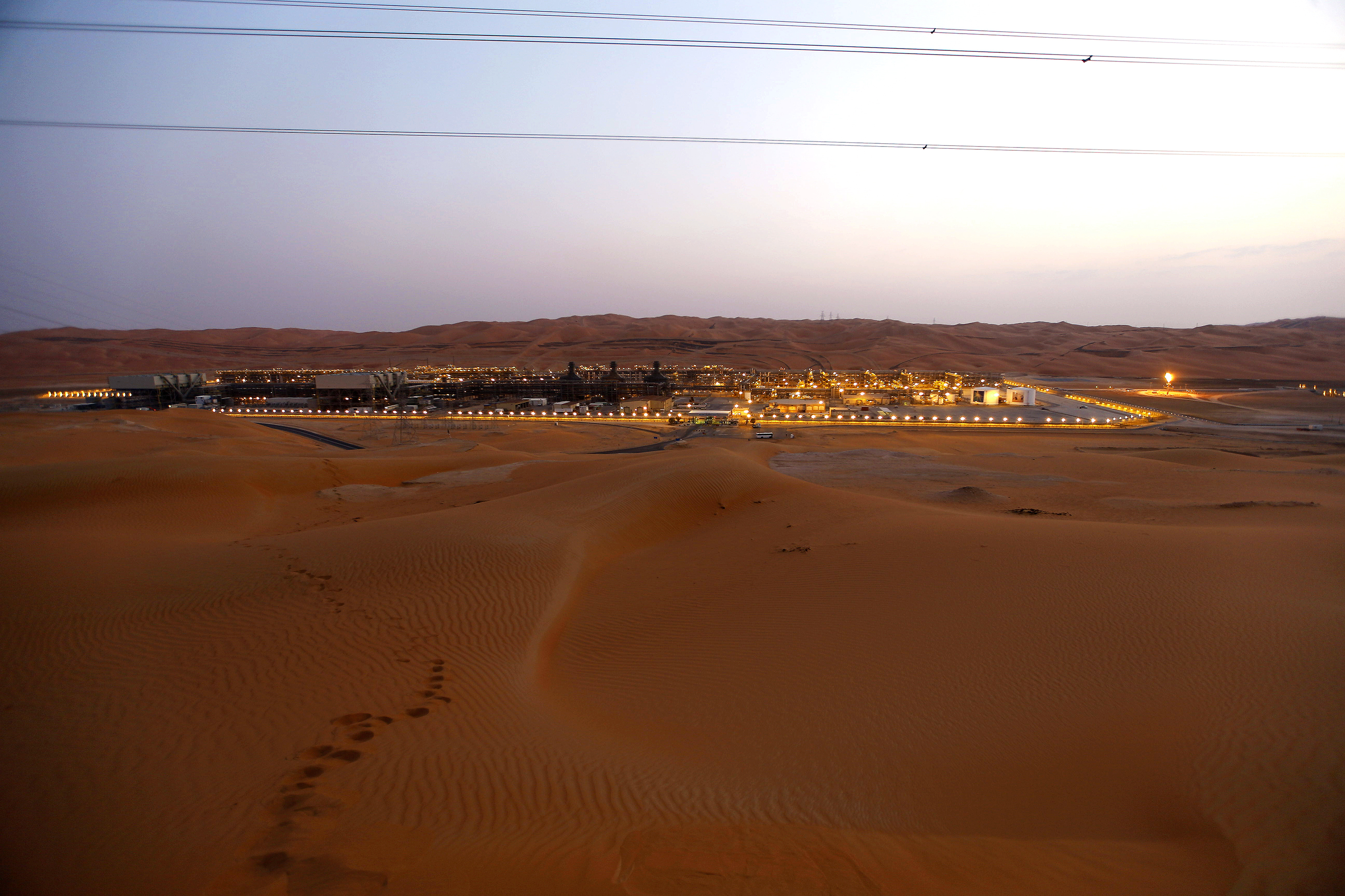 A Saudi Aramco gas-oil separation plant in the remote Empty Quarter desert.