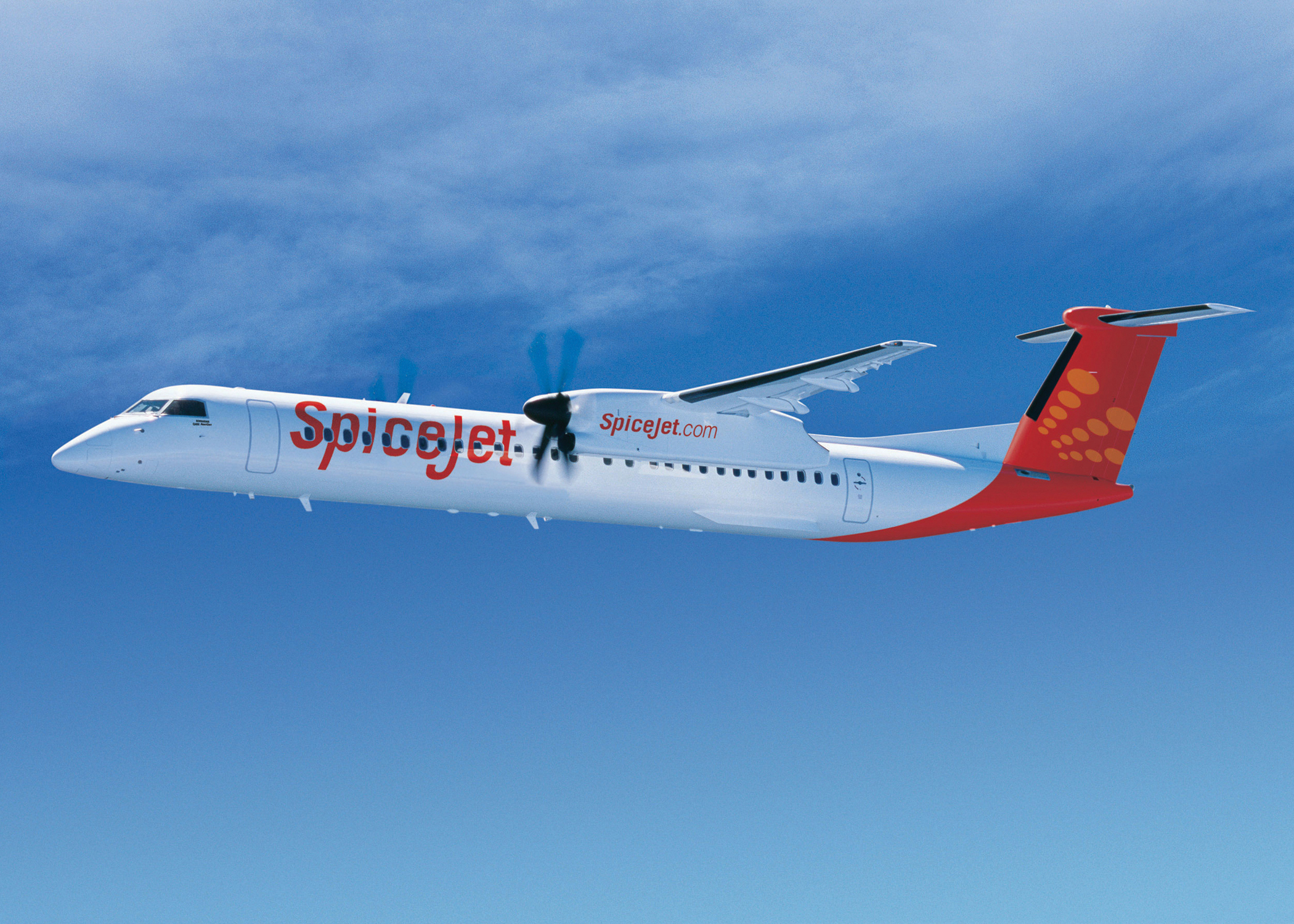 Bombardier's Q400 in SpiceJet livery.