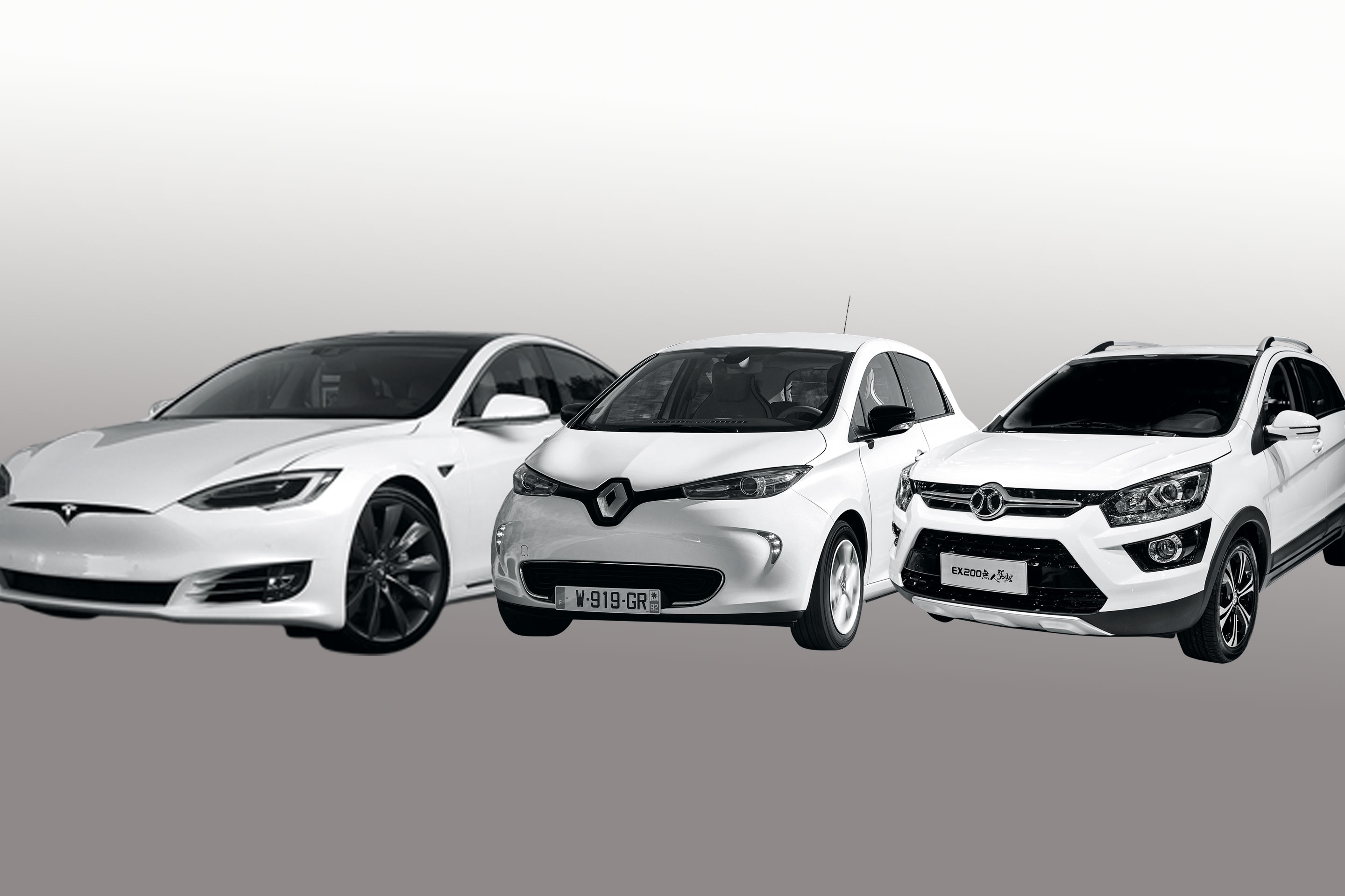 A few of the best- selling electric cars from each region, from left: Tesla Model S; Renault Zoe, and BAIC EX200