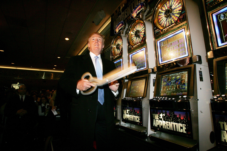 Donald Trump Cutting the Ribbon on his New Apprentice Slots at Taj Mahal