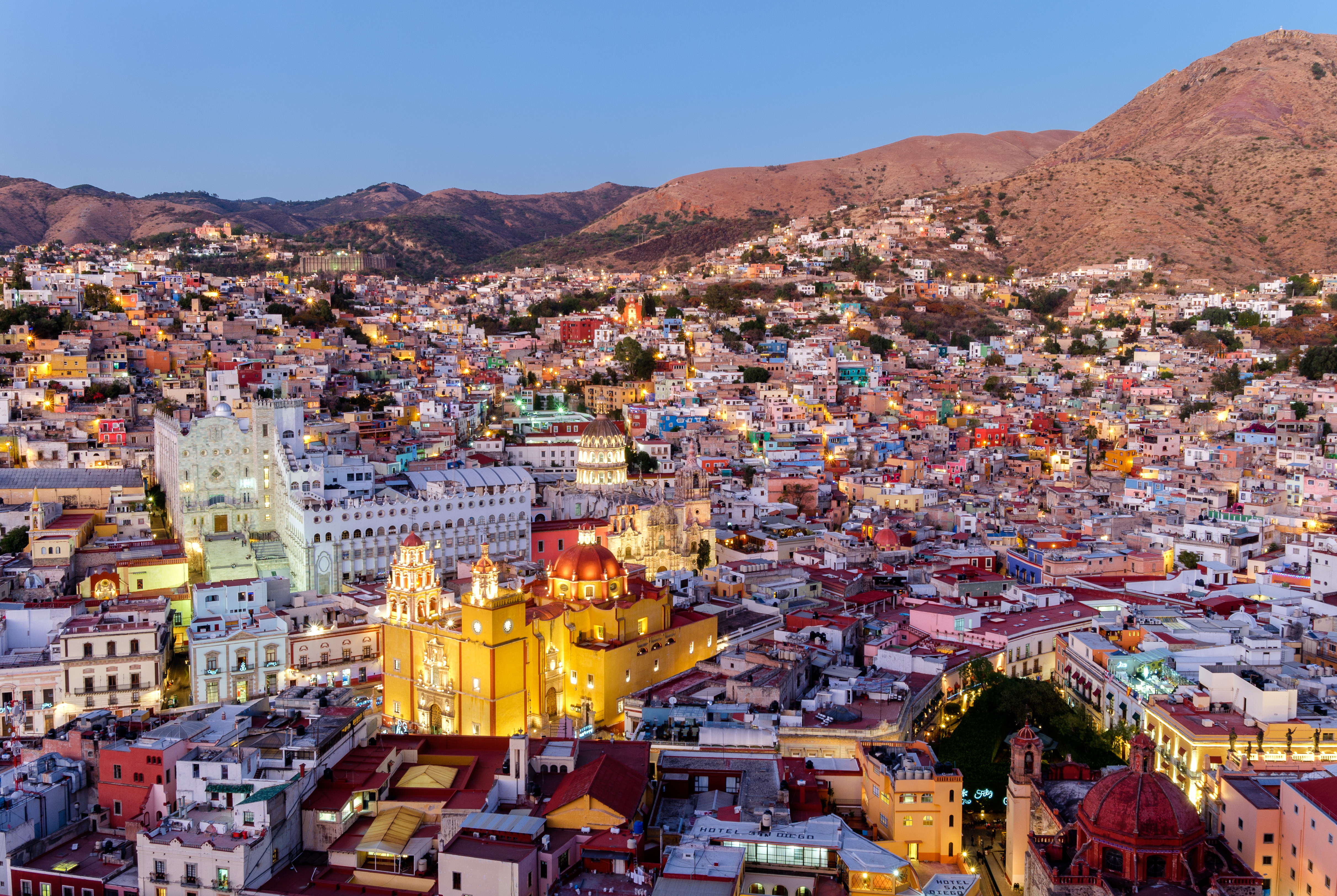 Guanajuato City - Aerial View at Twilight