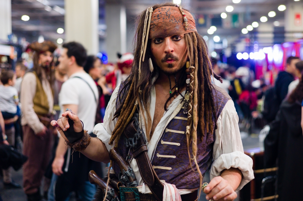 A participant wearing a costume of Jack Sparrow during the