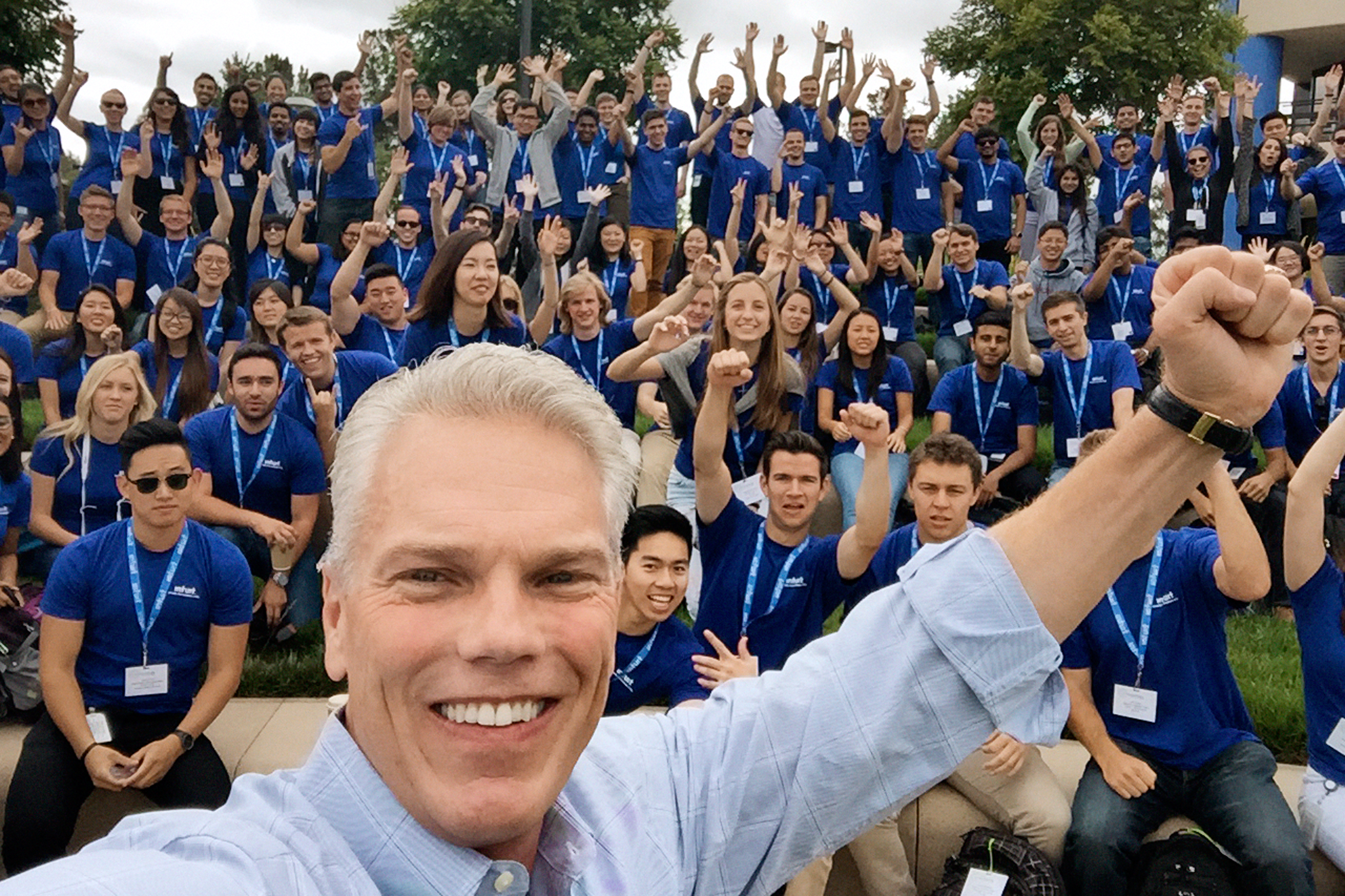 Intuit CEO Brad Smith with summer interns.