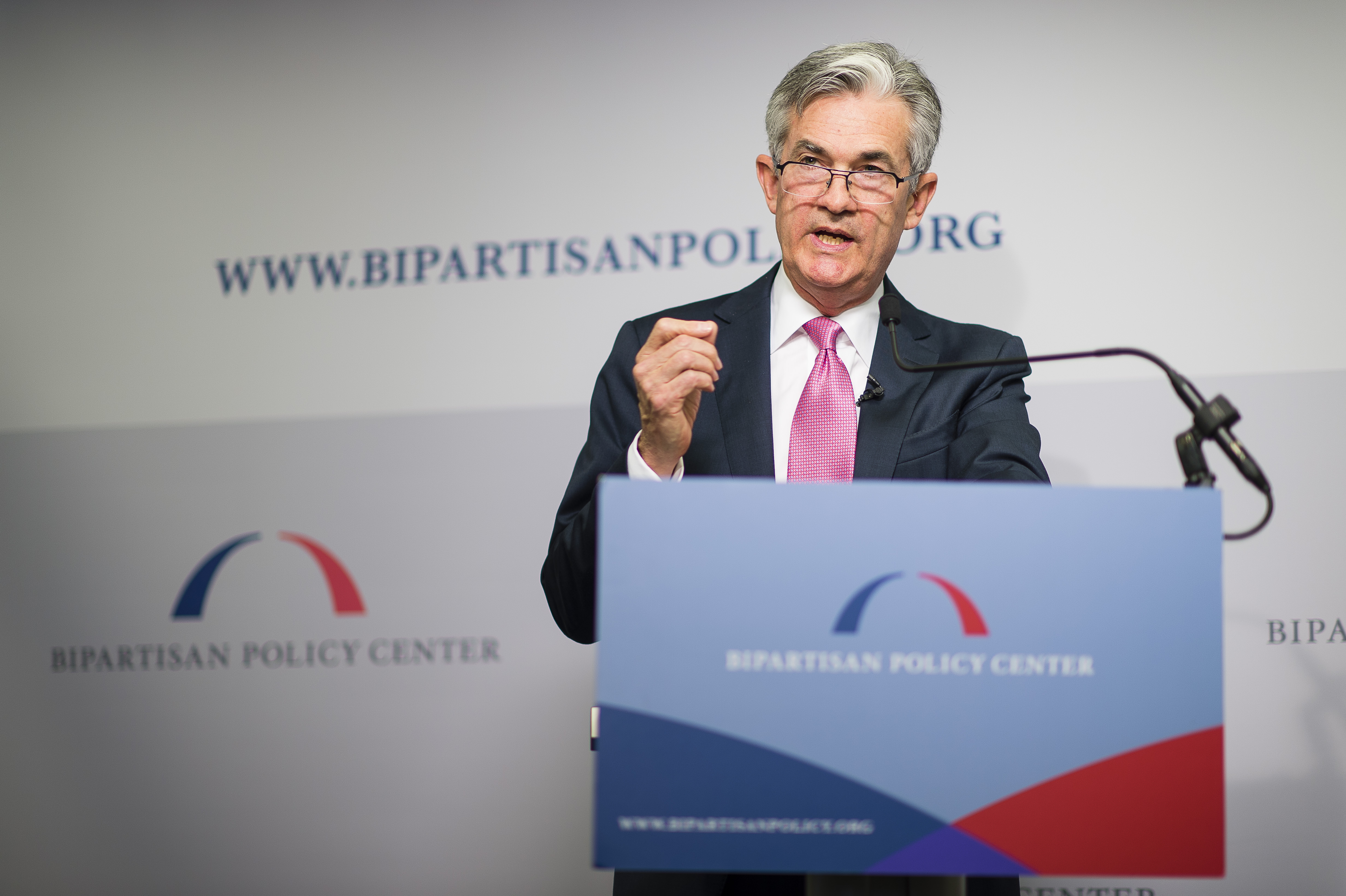 Jerome Powell speaking at the Bipartisan Policy Center in 2013.