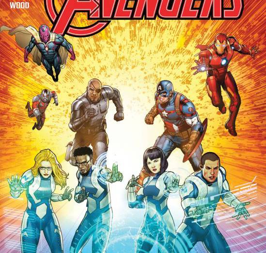 From the cover of the now-scuttled new comic series to be produced in partnership between Marvel Comics and Northrop Grumman, featuring four heroes using Northrop Grumman technology.