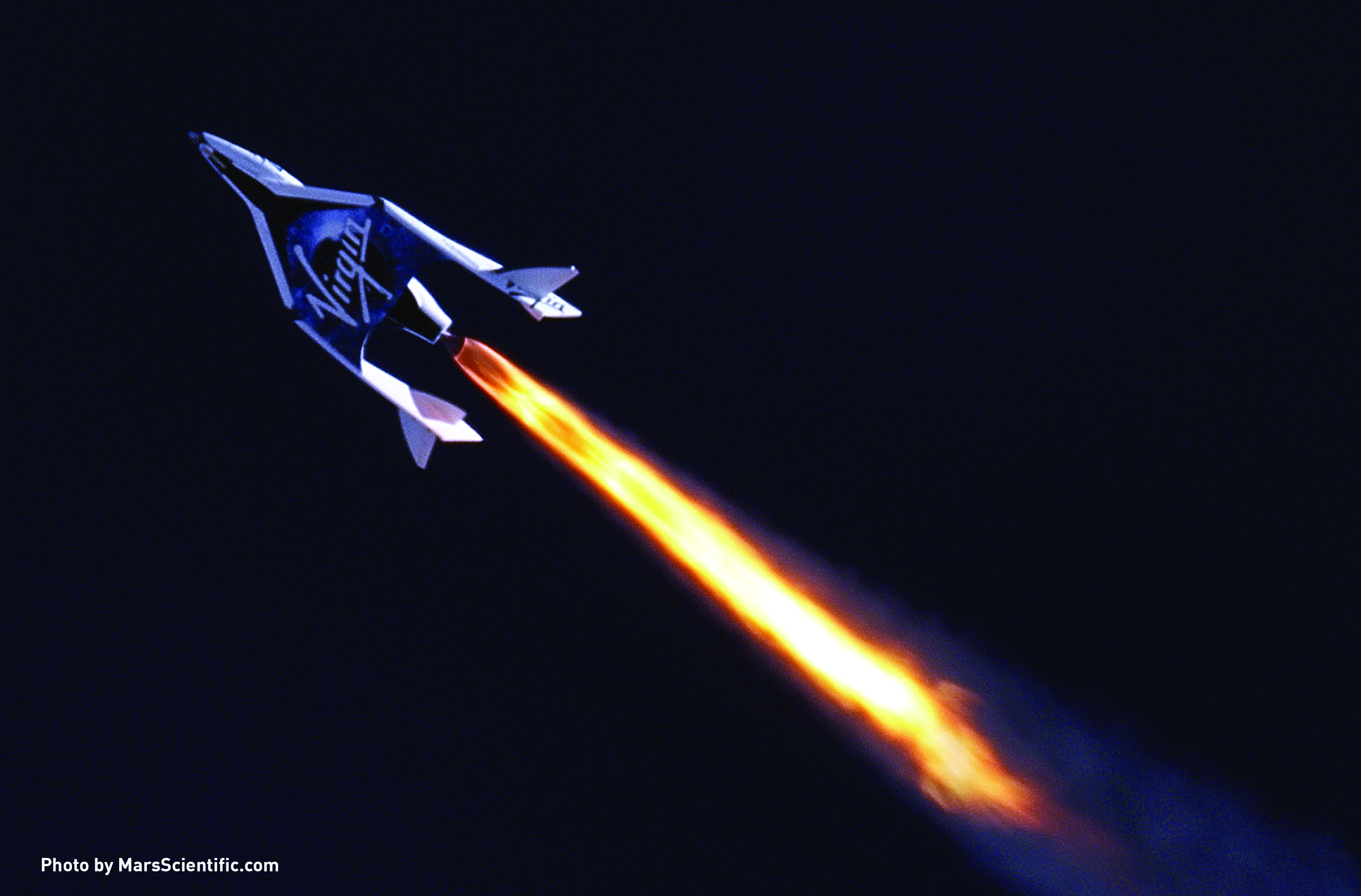 Virgin Galactic's first SpaceShipTwo during its first supersonic powered flight