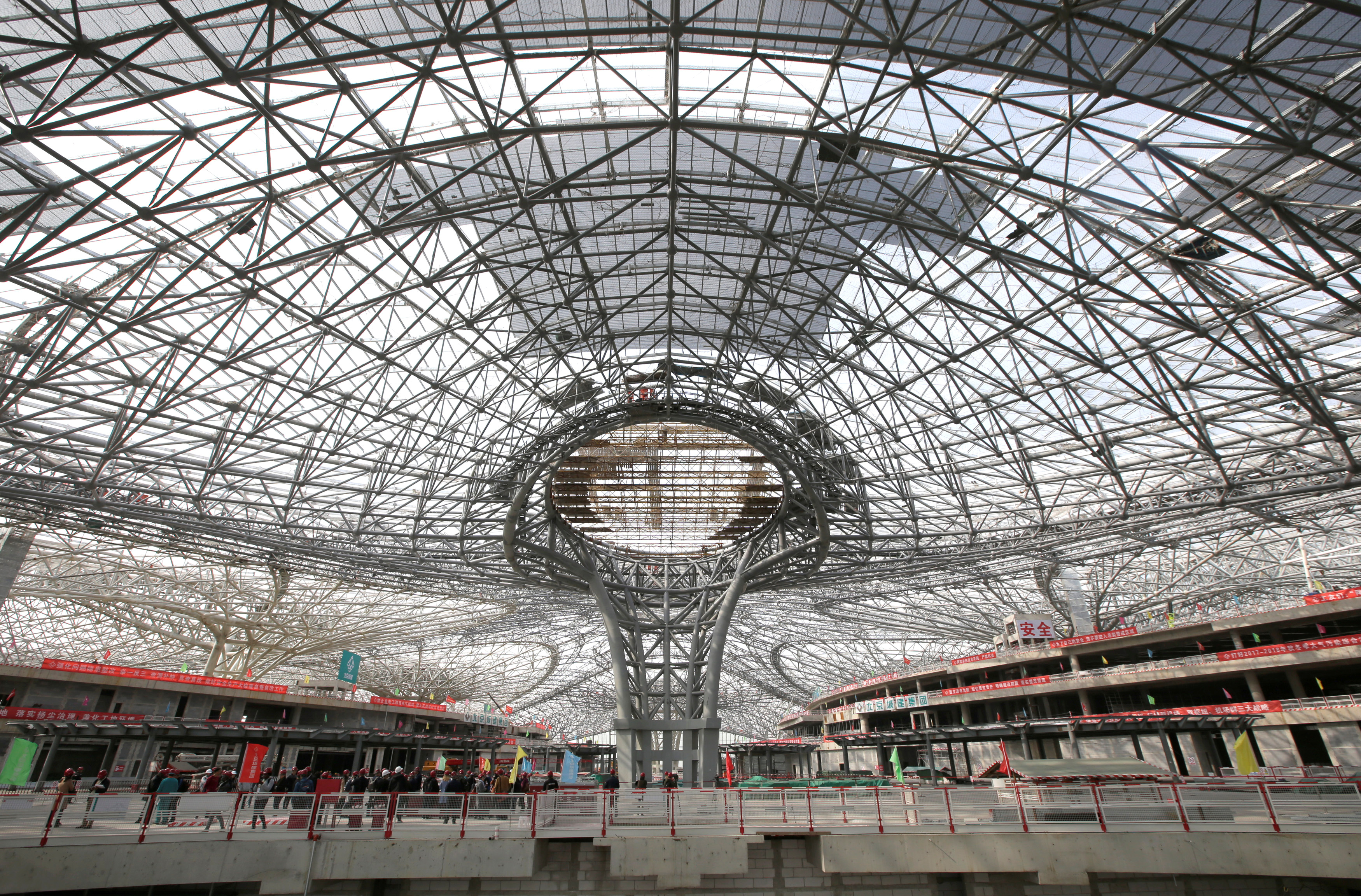 The inner view of the terminal hall of new Daxing Airport constructed on the outskirts of Beijing
