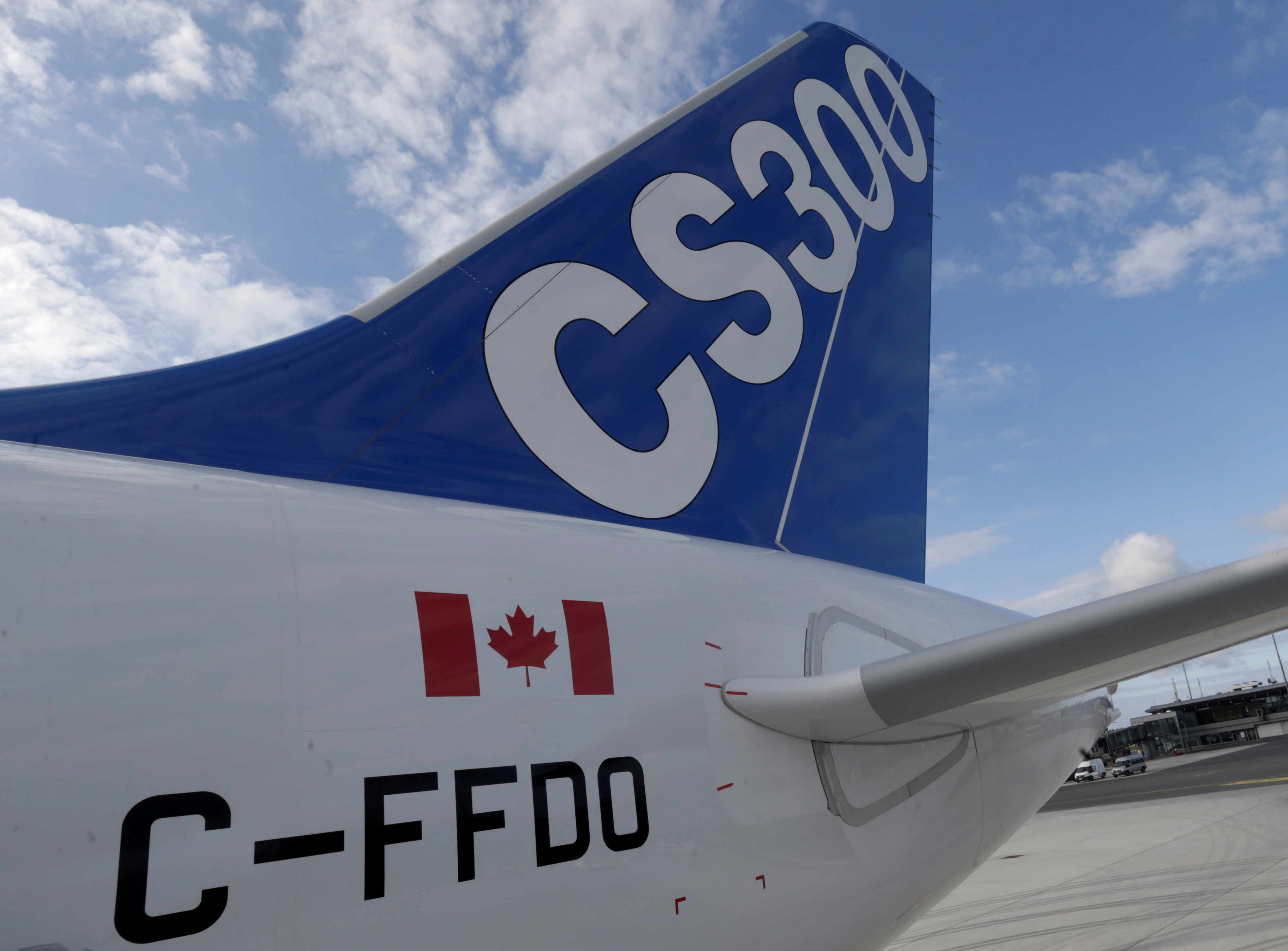 A tail of the Bombardier CS300 test aircraft is pictured at the Riga airport