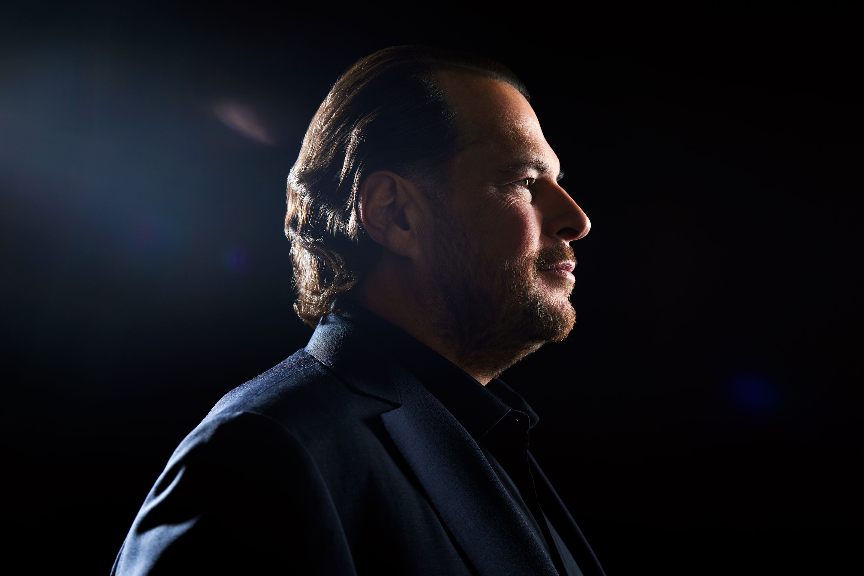 Marc Benioff photographed at the Salesforce East tower in San Francisco on Oct. 11.