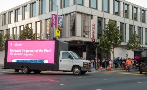 T-Mobile pitches its network outside Google's Pixel 2 announcement.