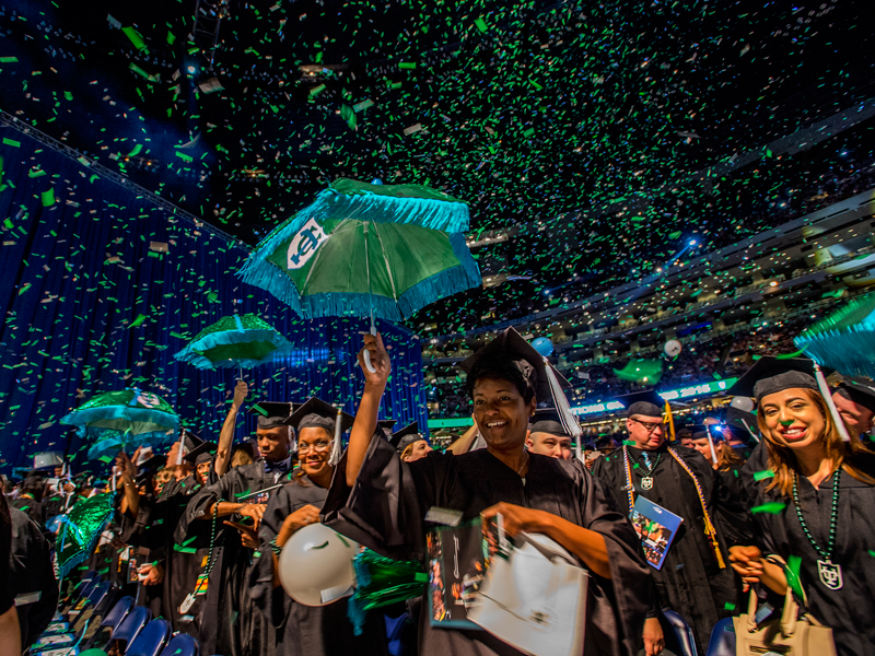 Tulane college students at a graduation ceremony