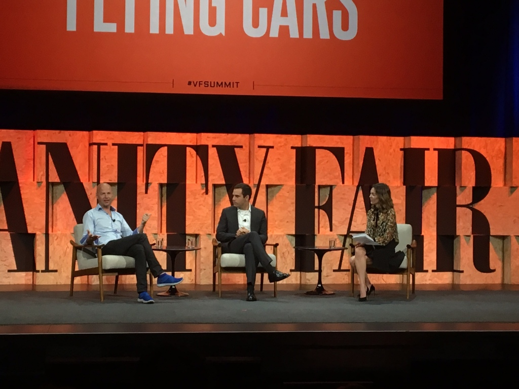 Kitty Hawk's Sebastian Thrun and Cameron Robertson with Bloomberg Television's Emily Chang at the 2017 Vanity Fair New Establishment Summit in Beverly Hills, Calif.