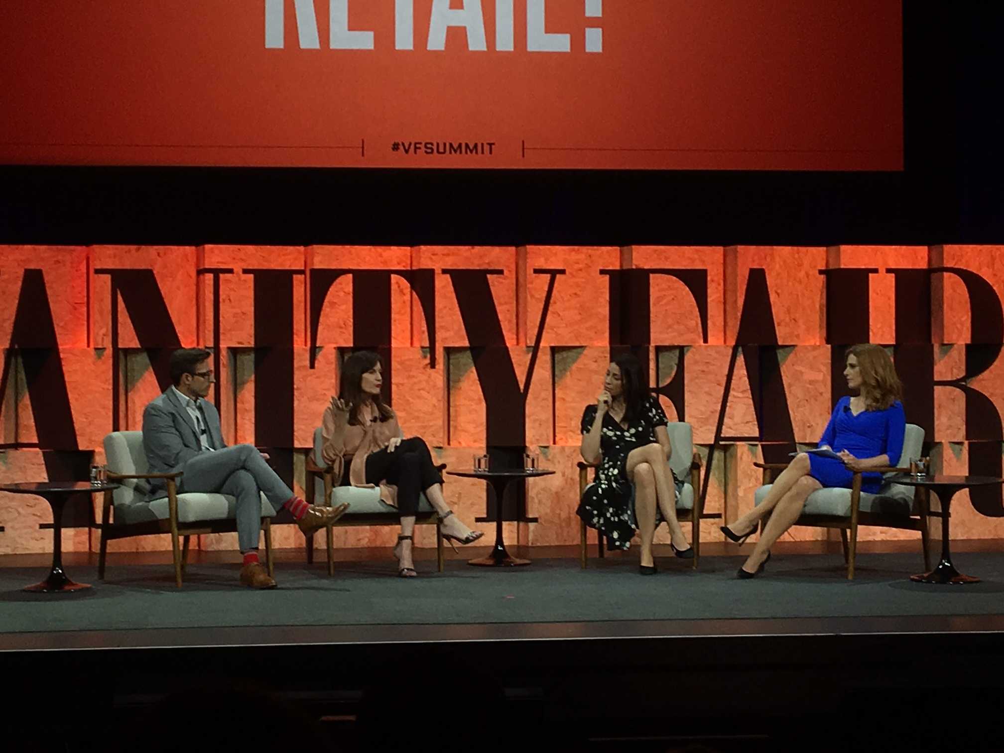 Calvin McDonald of Sephora, Daniella Vitale of Barneys New York, Yael Aflalo of Reformation, and Julia Boorstin of CNBC at the 2017 Vanity Fair New Establishment Summit in Beverly Hills, Calif.