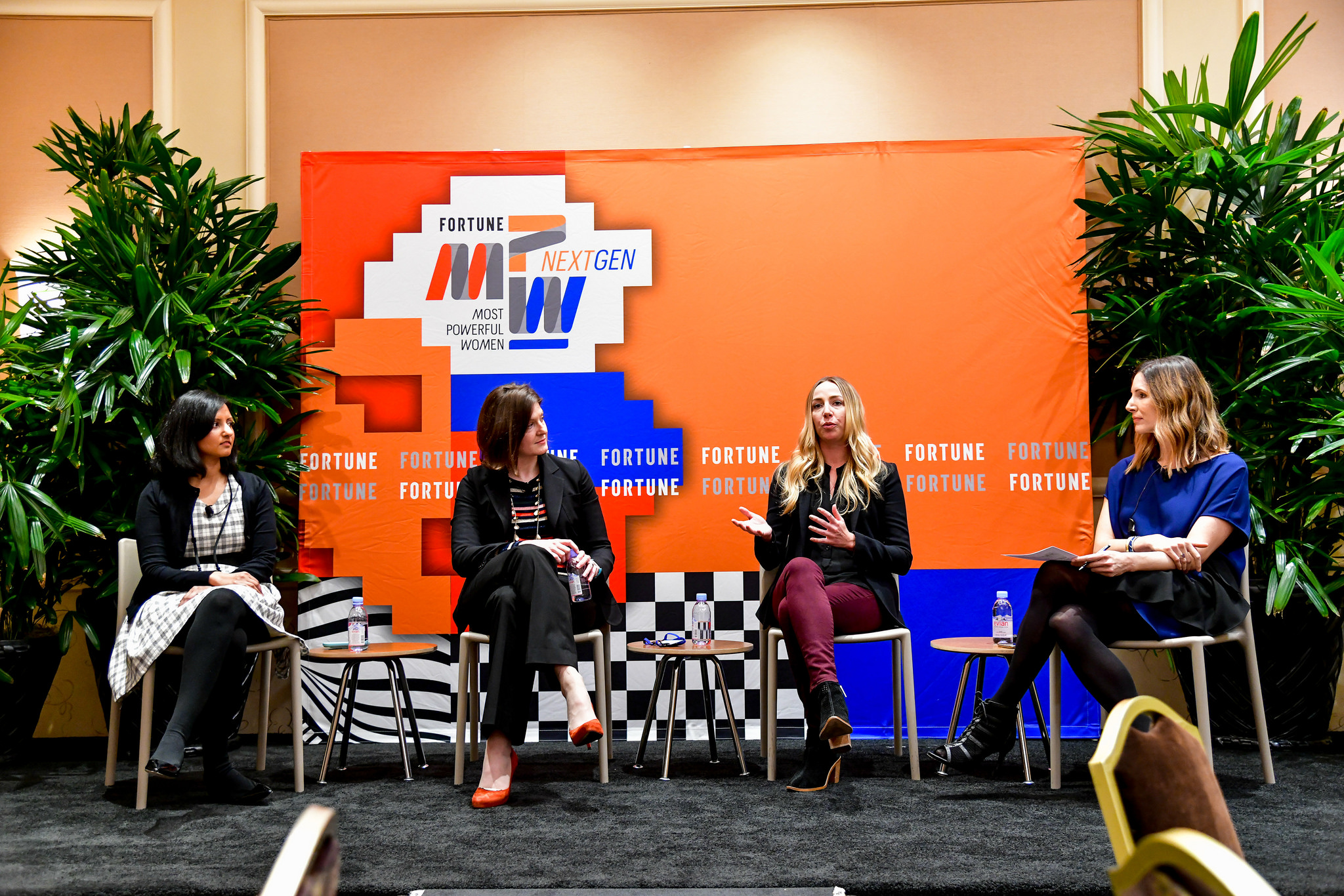 Jackie Birdsall of Toyota, Surabhi Gupta or Airbnb, Julia Steyn of General Motors, and Leigh Gallagher of Fortune at the 2017 Fortune Most Powerful Women Next Gen Summit in Laguna Niguel, Calif.