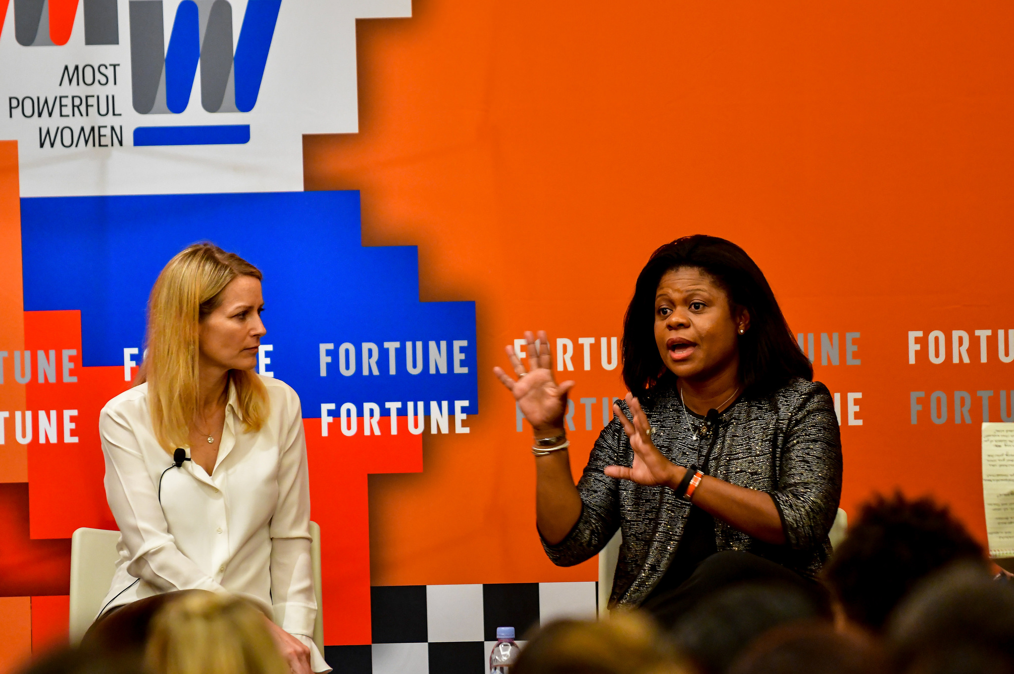 Color Genomics CMO Katie Jacobs Stanton and Intuit product and technology operations chief Merline Saintil speaking at the 2017 Fortune Most Powerful Women Next Gen Summit in Laguna Niguel, Calif.