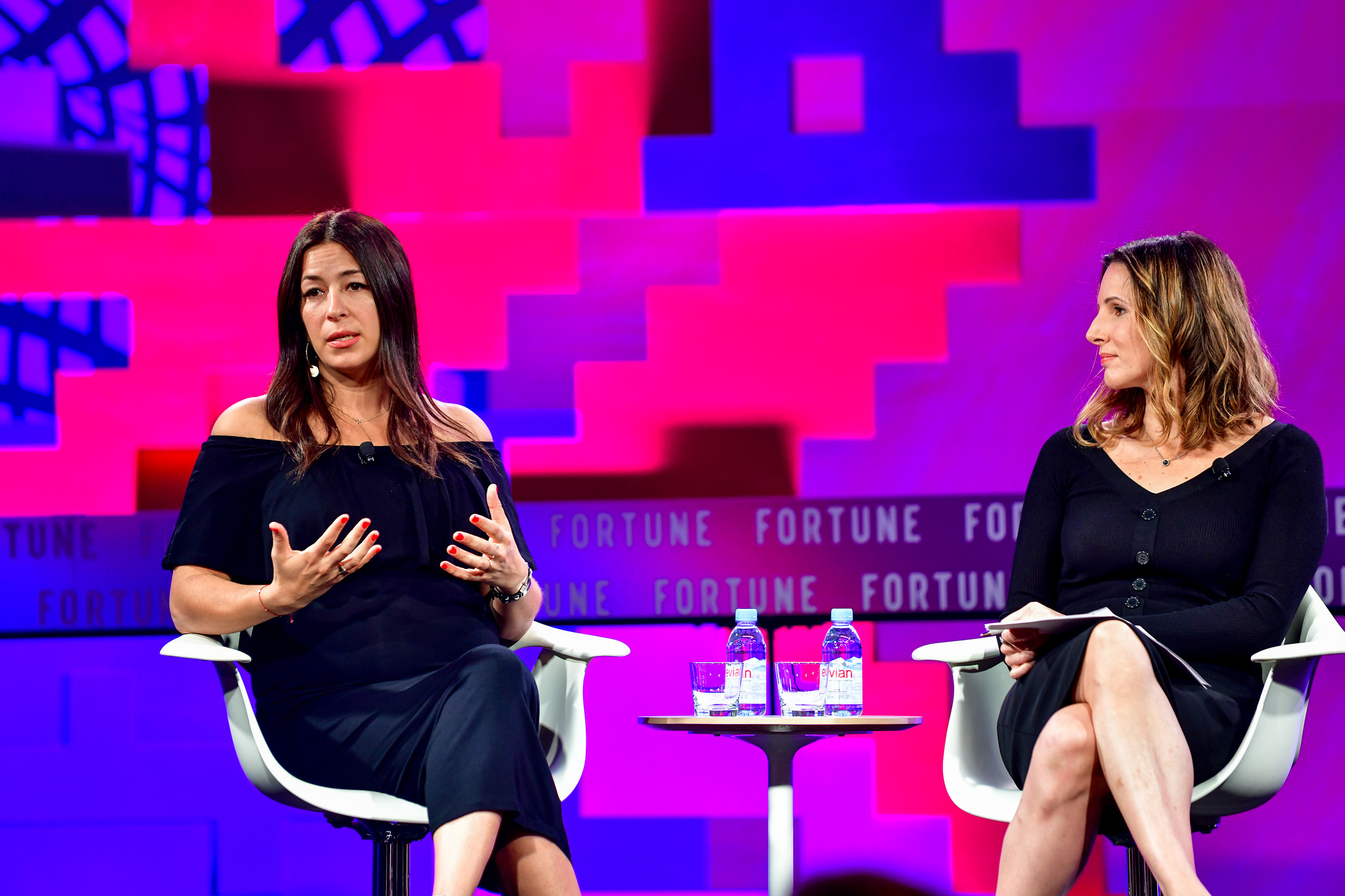 Rebecca Minkoff, left, and Fortune's Leigh Gallagher during the 2017 Most Powerful Women Next Gen Summit