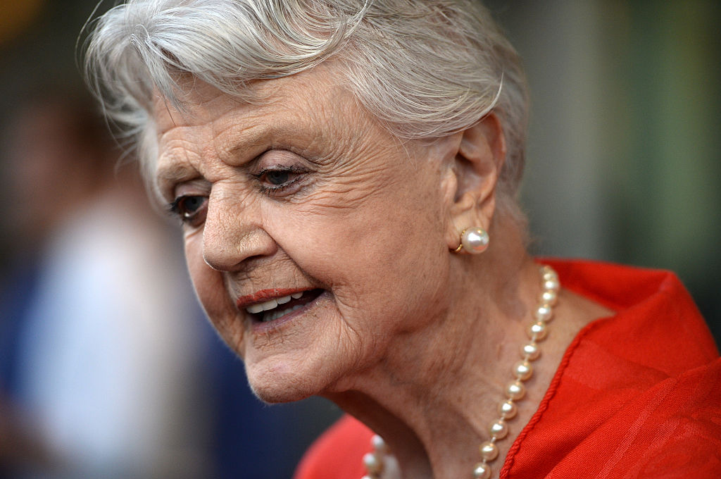 angela lansbury appears at film premiere in red dress, pearls