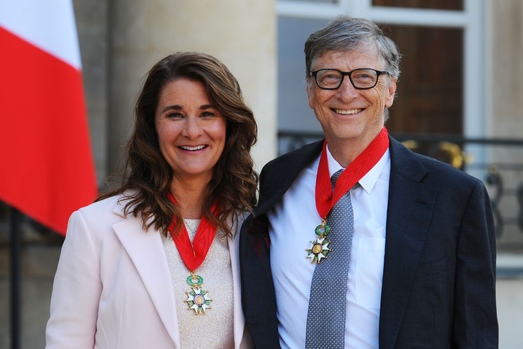 French President Receives Bill Gates, the co-Founder of the Microsoft Company At Elysee Palace