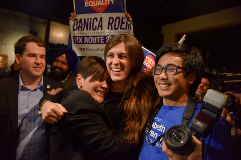 Danica Roem hugs supporters, celebrates her win, becoming first transgender legislator elected in the USA