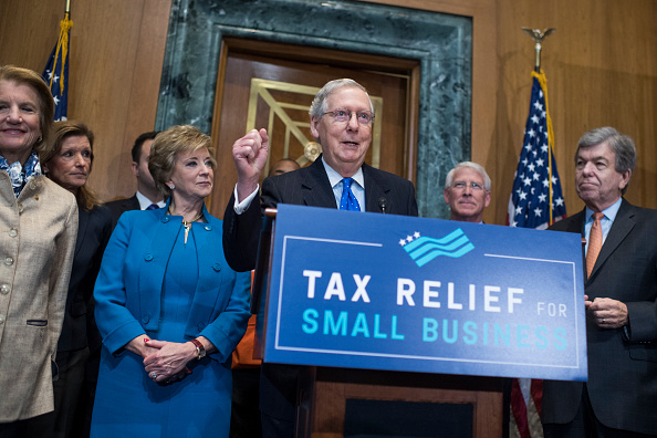 UNITED STATES - NOVEMBER 30: Senate Majority Leader Mitch McConnell, R-Ky., speaks during a news conference on on the importance of passing the tax reform bill in Dirksen Building on November 30, 2017. Also appearing in the front row are, from left, Sen. Shelley Moore Capito, R-W.Va., Linda McMahon, administrator of the U.S. Small Business Administration, Sens. Roger Wicker, R-Miss., and Roy Blunt, R-Mo. (Photo By Tom Williams/CQ Roll Call)