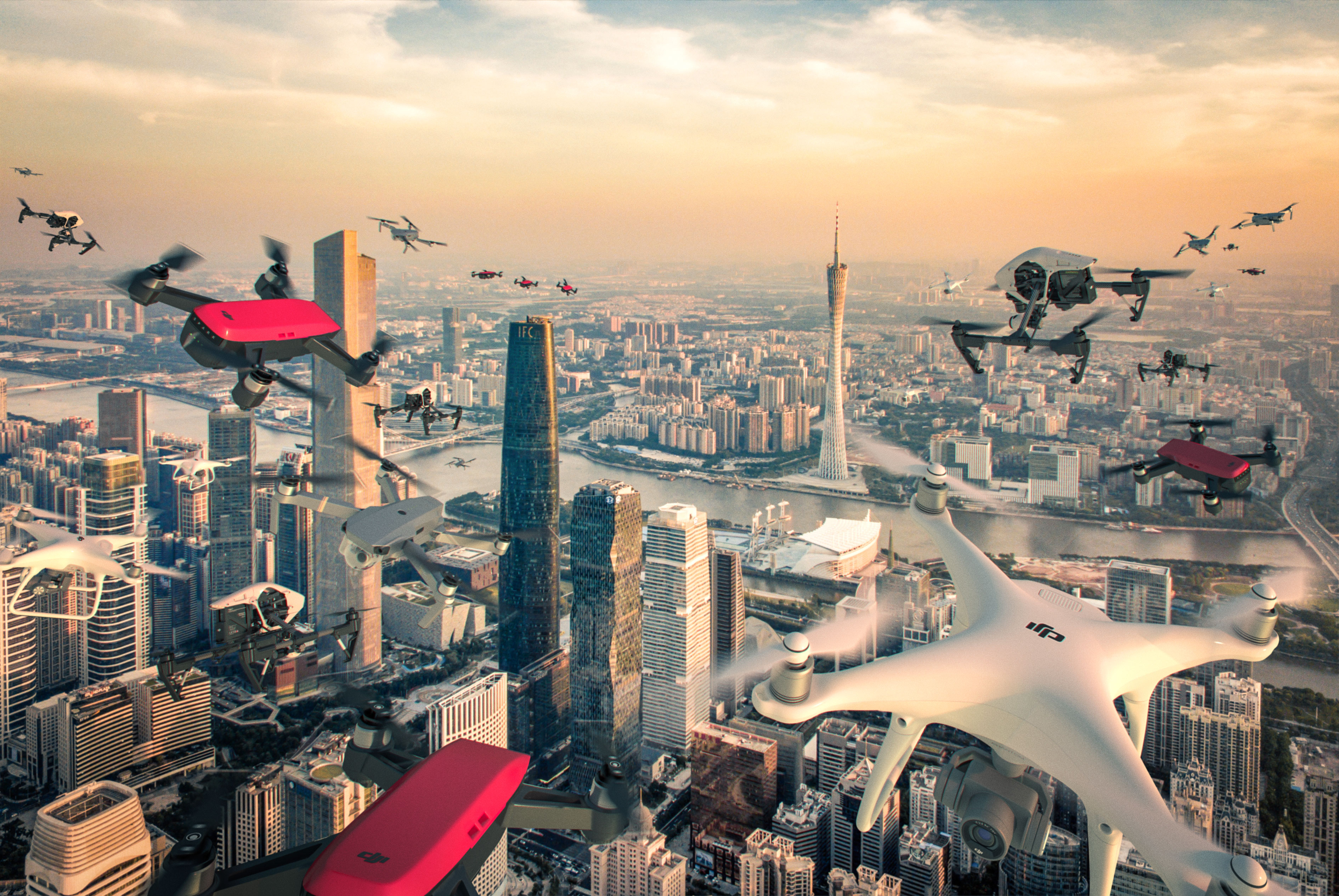 In this photo illustration, drones fly over the skyline of Guangzhou, China, where Fortune is holding its 2017 Global Forum conference.