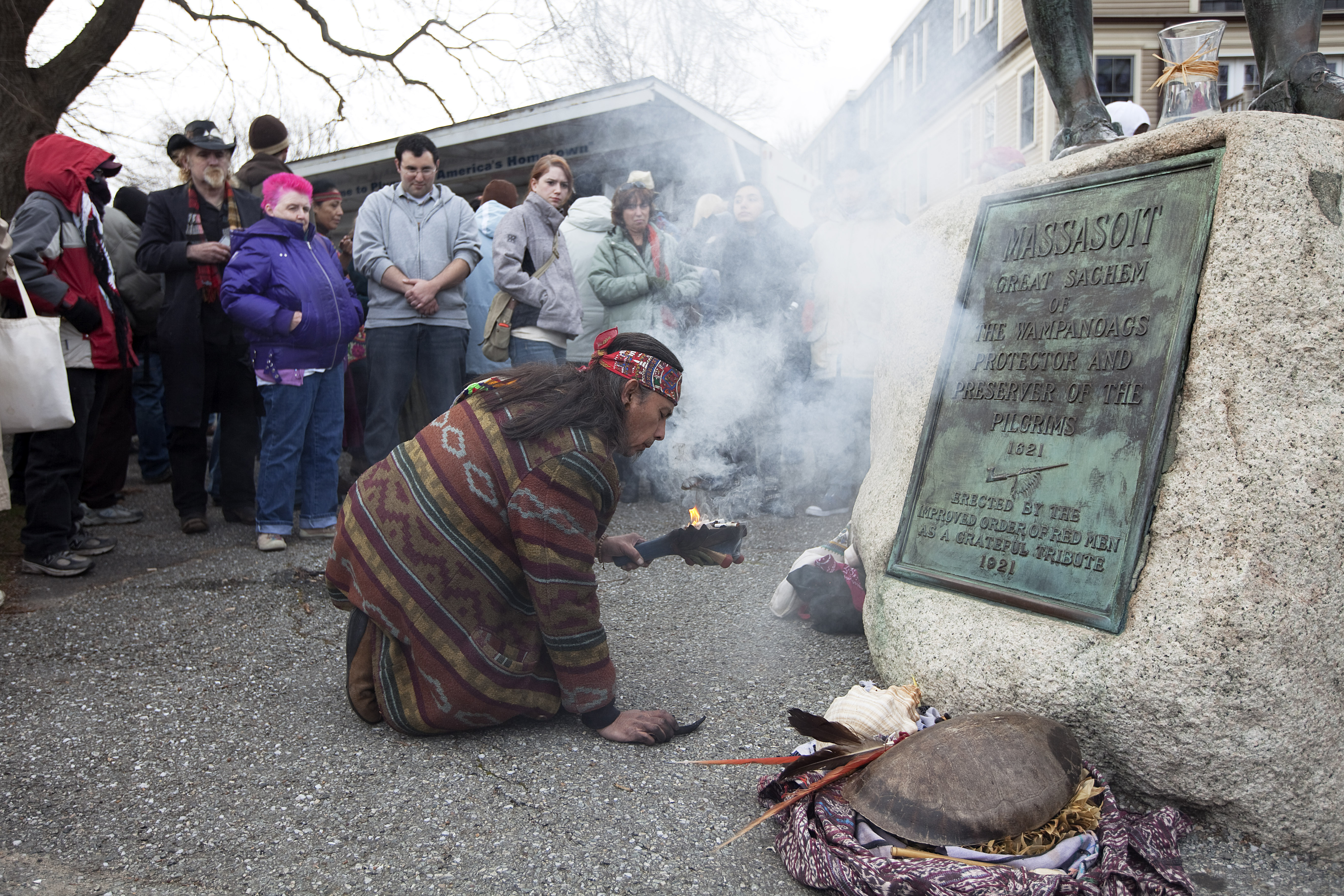National Day Of Mourning Across From Plymouth Rock