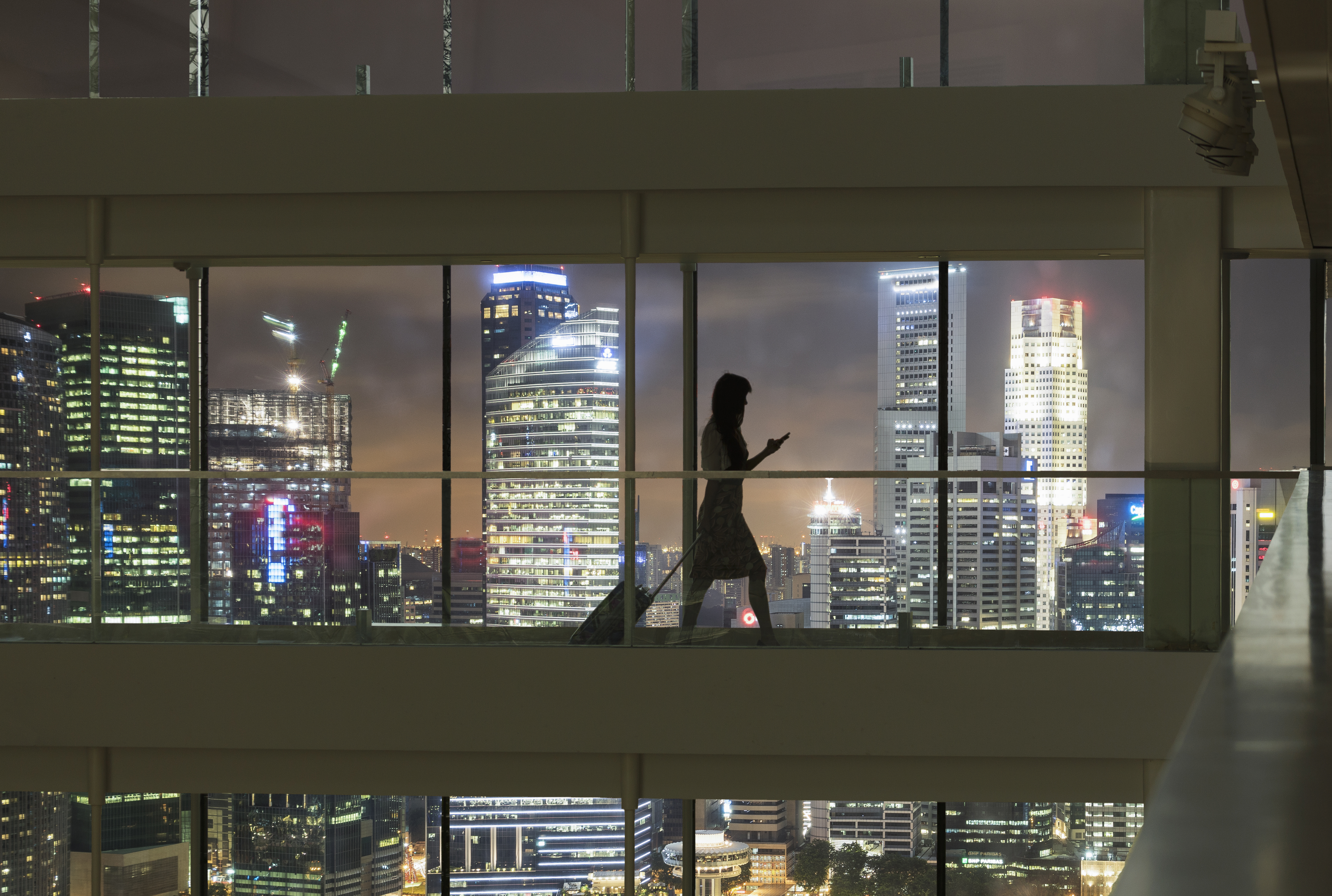 Young woman using smartphone and pulling suitcase, city skyline in view