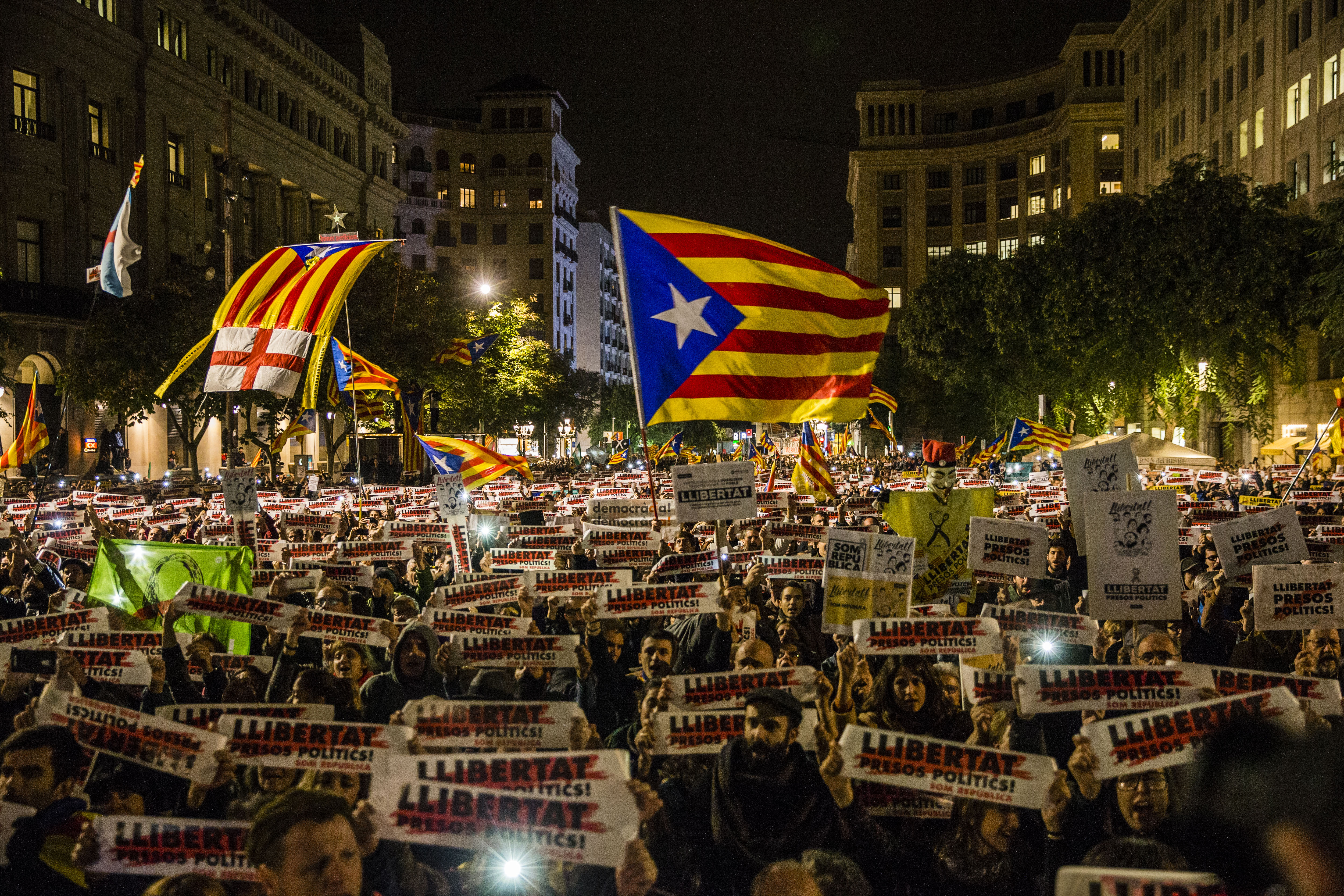 Regional Strike Takes Place Against The Prison Detention Of The Ousted Catalonian Government
