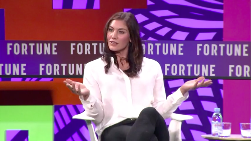 American soccer star and Olympic medalist Hope Solo speaking at the 2017 Fortune Most Powerful Women Next Gen Summit in Laguna Niguel, Calif.