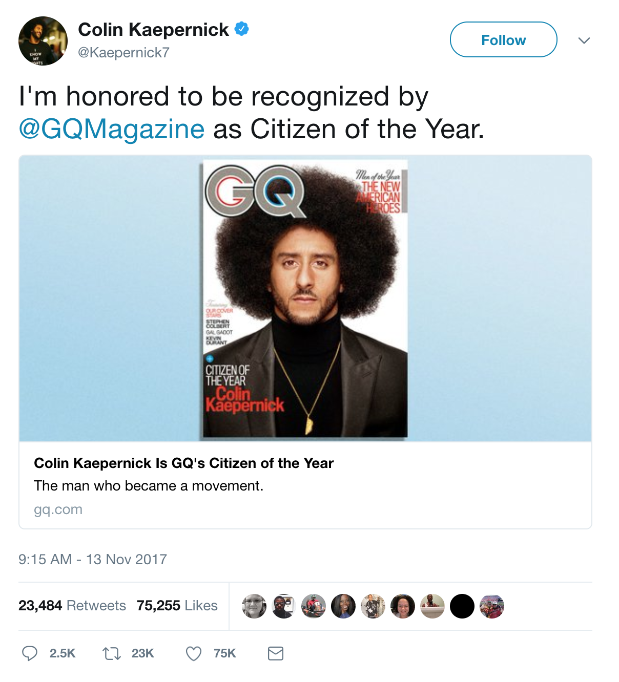 Tweet of Colin Kaepernick on the Cover of GQ