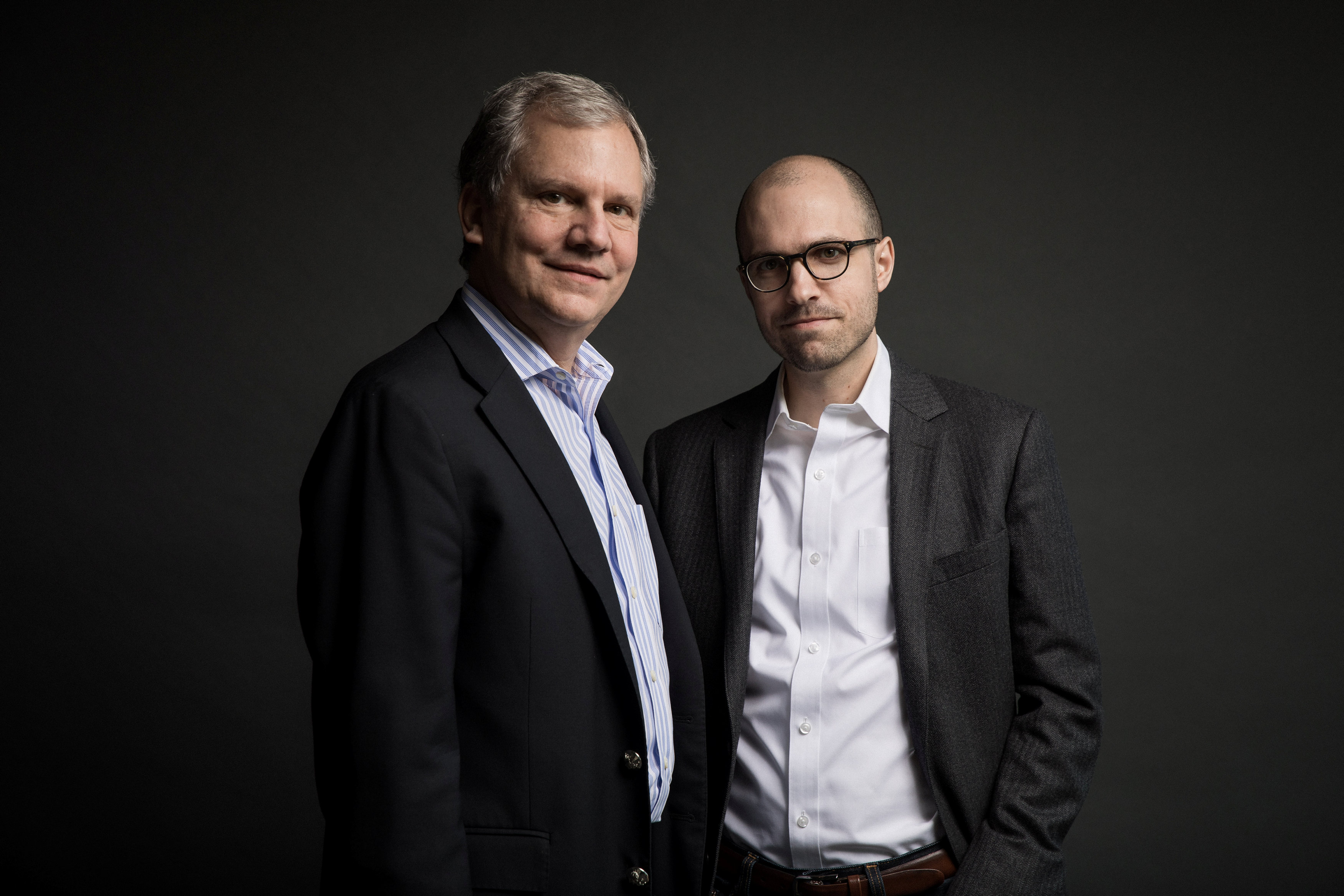 Arthur Gregg (A.G.) Sulzberger and his father Arthur Ochs Sulzberger Jr. on the 16th floor of the New York Times building in New York