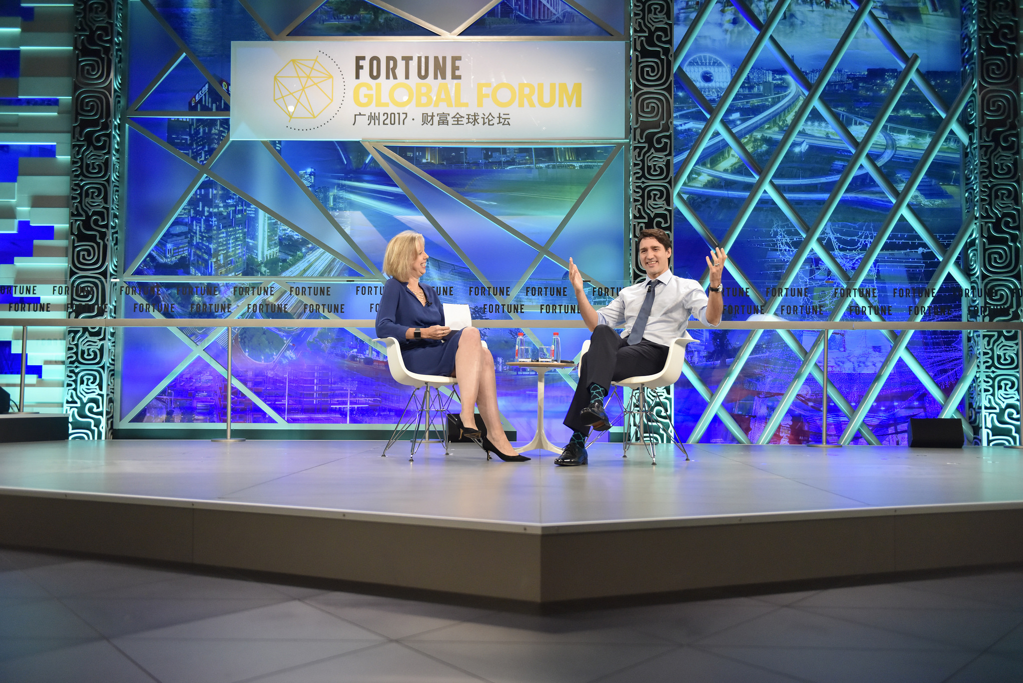 Canada prime minister Justin Trudeau (right) with Time magazine's Nancy Gibbs at the 2017 Fortune Global Forum in Guangzhou, China.