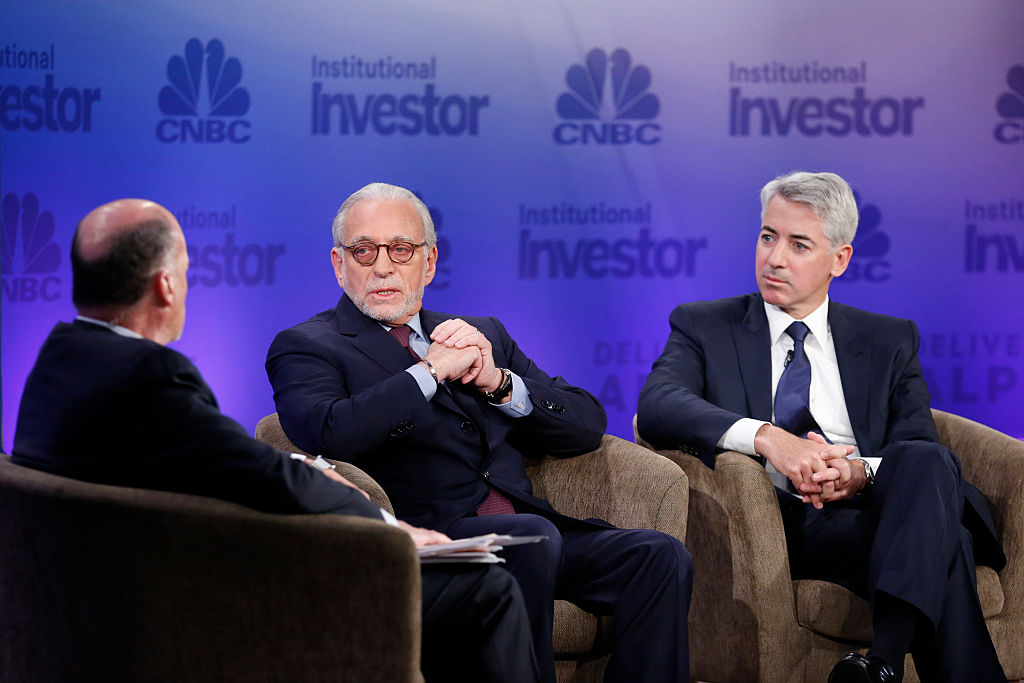 Jim Cramer, Nelson Peltz and Bill Ackman in conversation at the Delivering Alpha conference in 2015