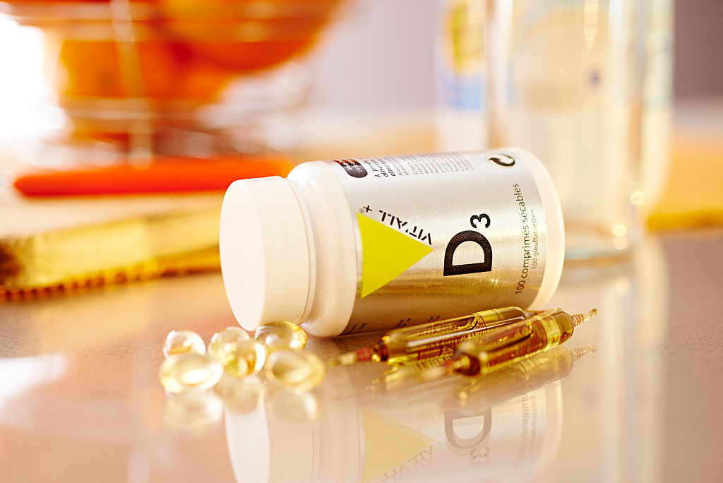 Vitamin D supplements on a table.