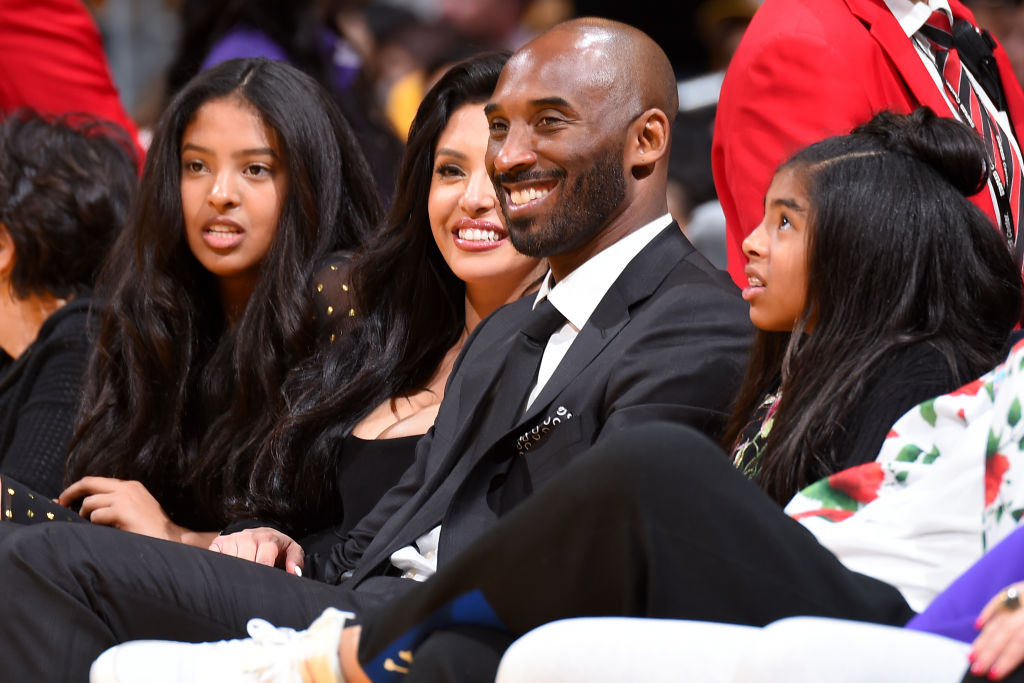 Kobe Bryant in the stands at a Los Angeles Lakers game.