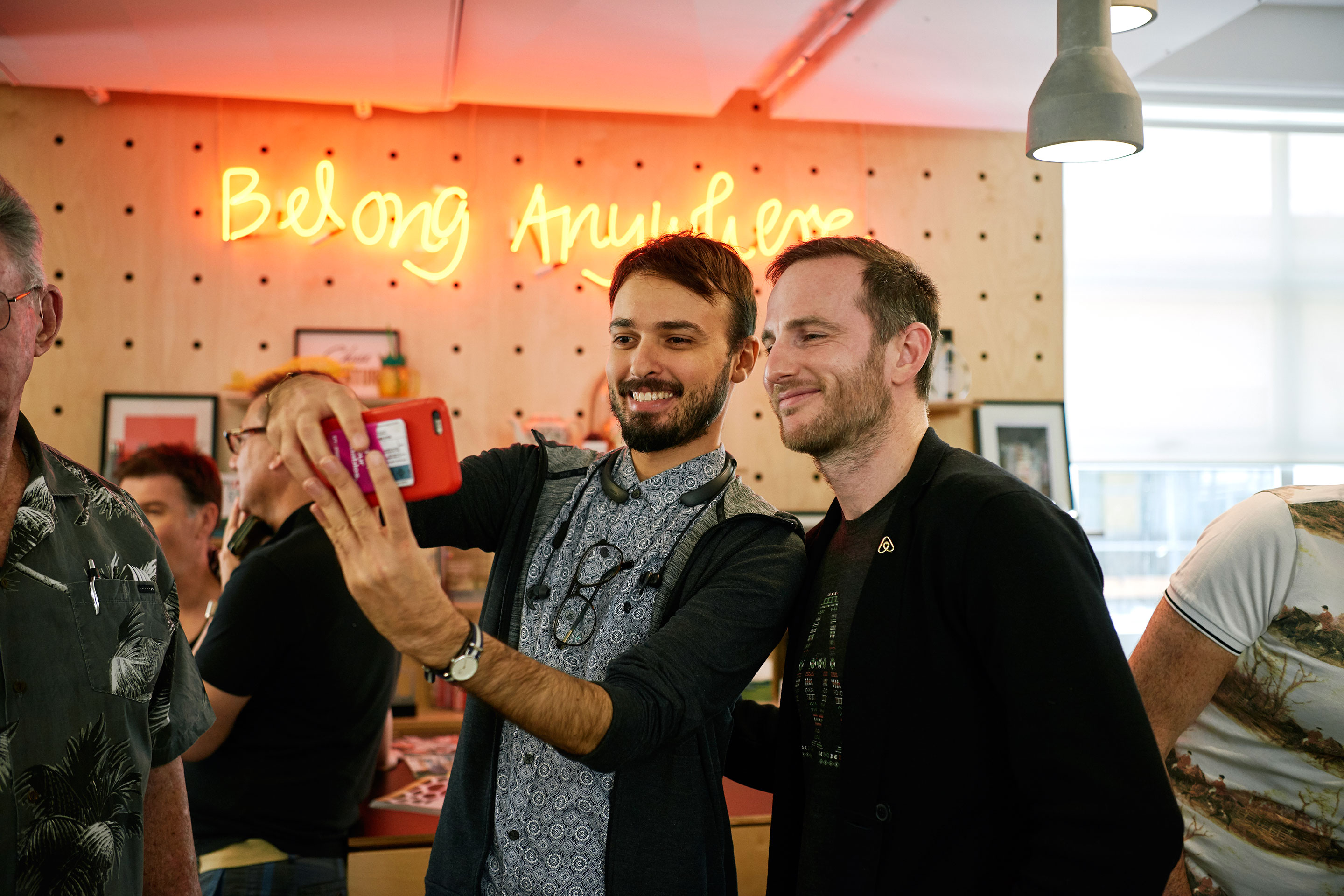 Airbnb cofounder Joe Gebbia (right) poses for a selfie at a gathering of Airbnb hosts in Australia.