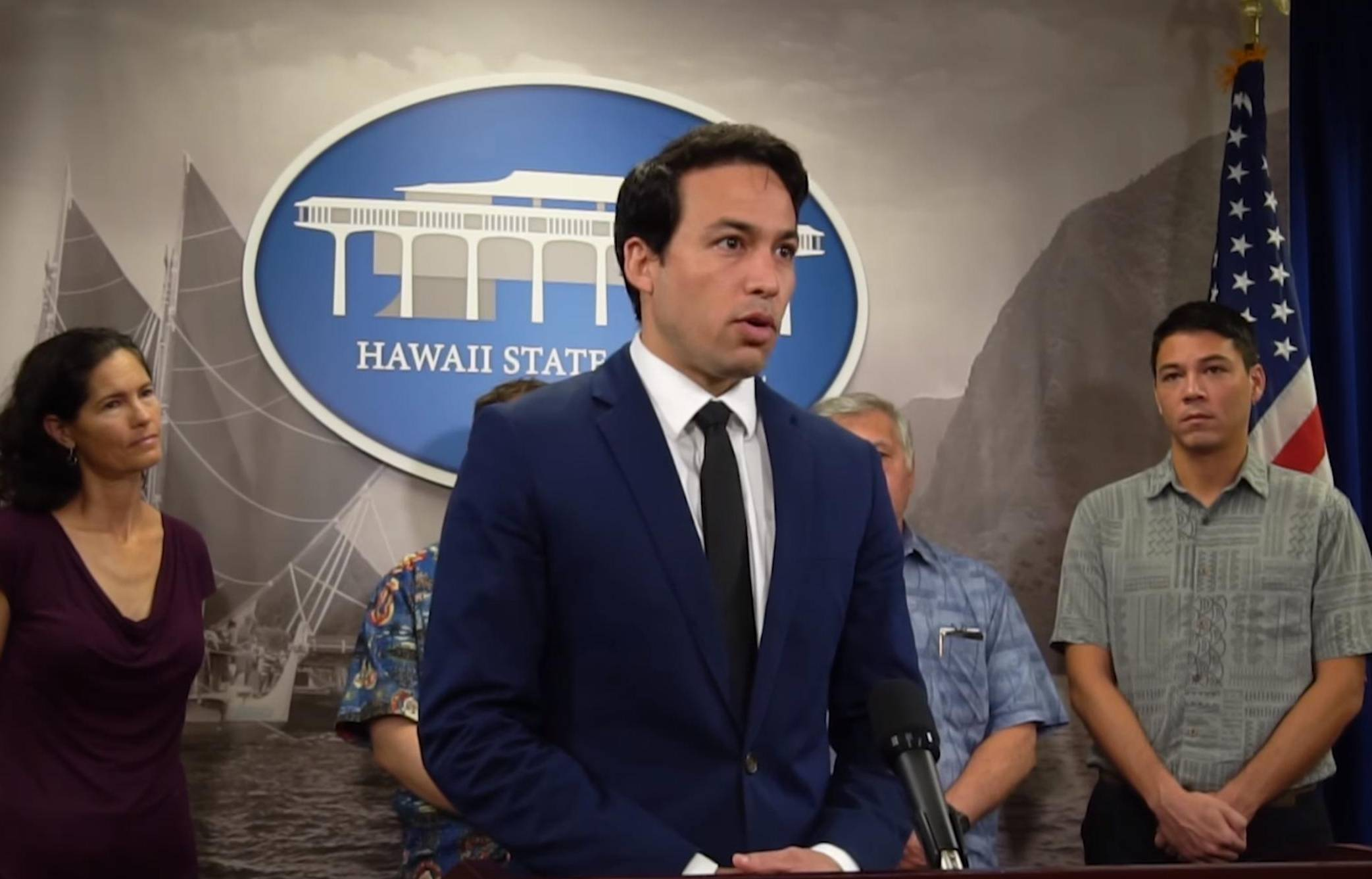 Hawaii state representative Chris Lee at a November press conference announcing his push to combat predatory practices in gaming.
